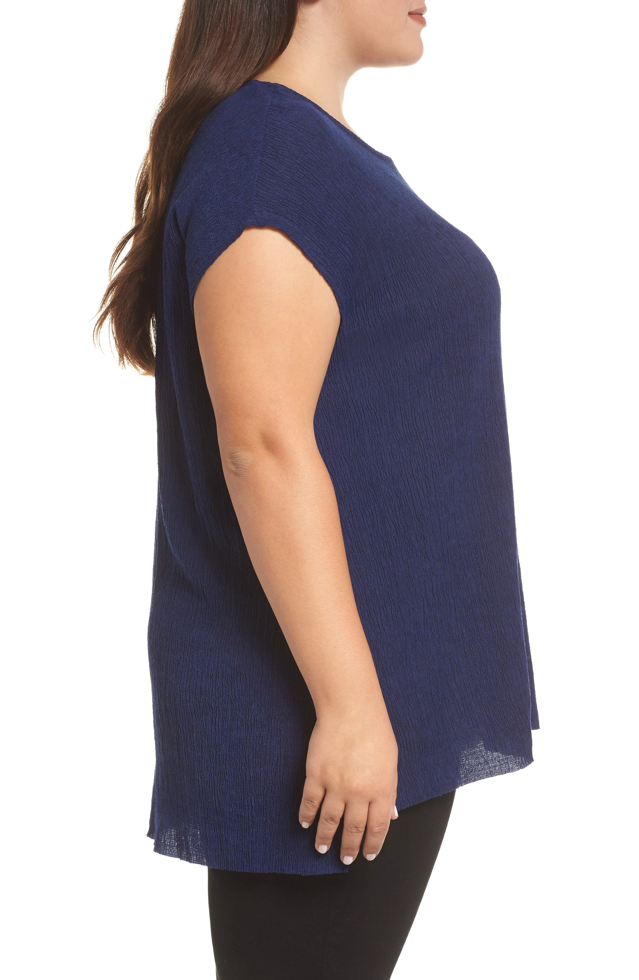 High/Low Crinkle Top,                             Alternate thumbnail 3, color,                             NAVY
