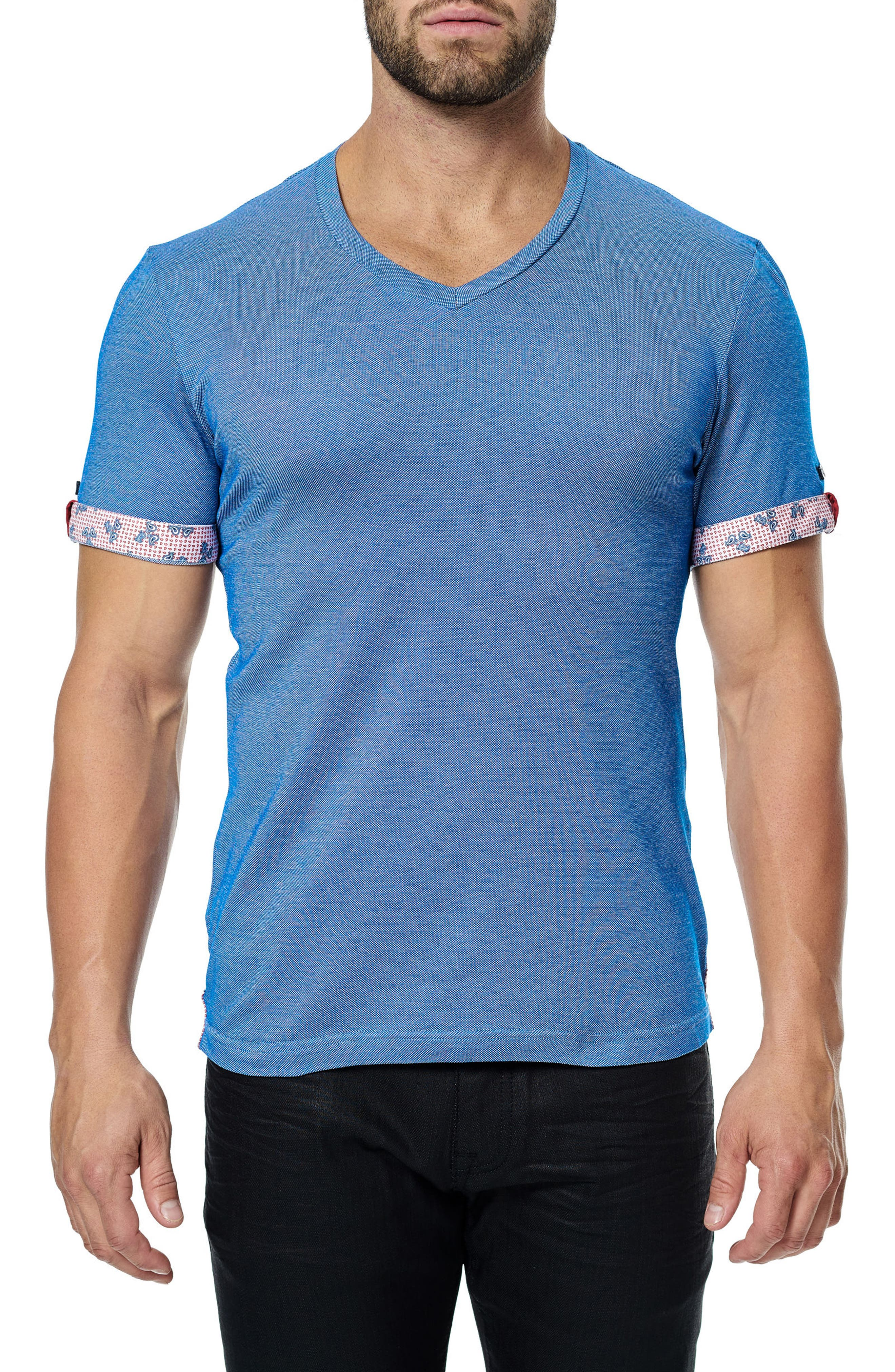 MACEOO,                             V-Neck Stretch T-Shirt,                             Alternate thumbnail 3, color,                             420
