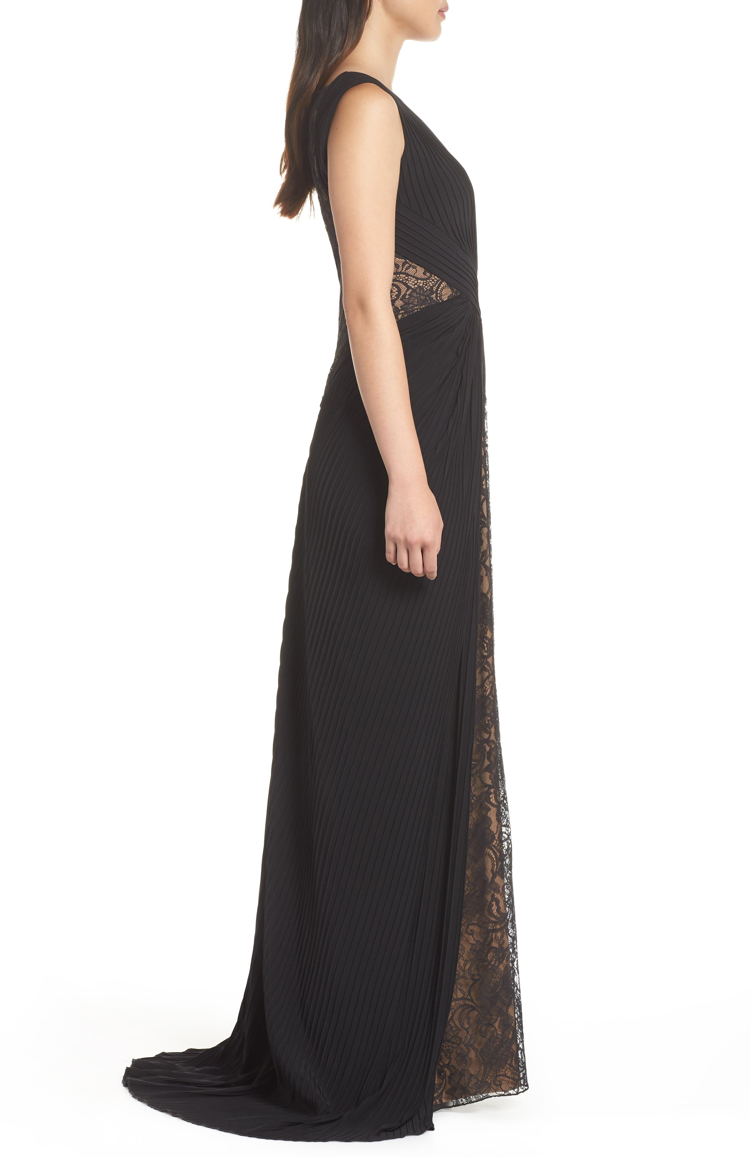 Pintuck & Lace Gown,                             Alternate thumbnail 3, color,                             BLACK/ NUDE