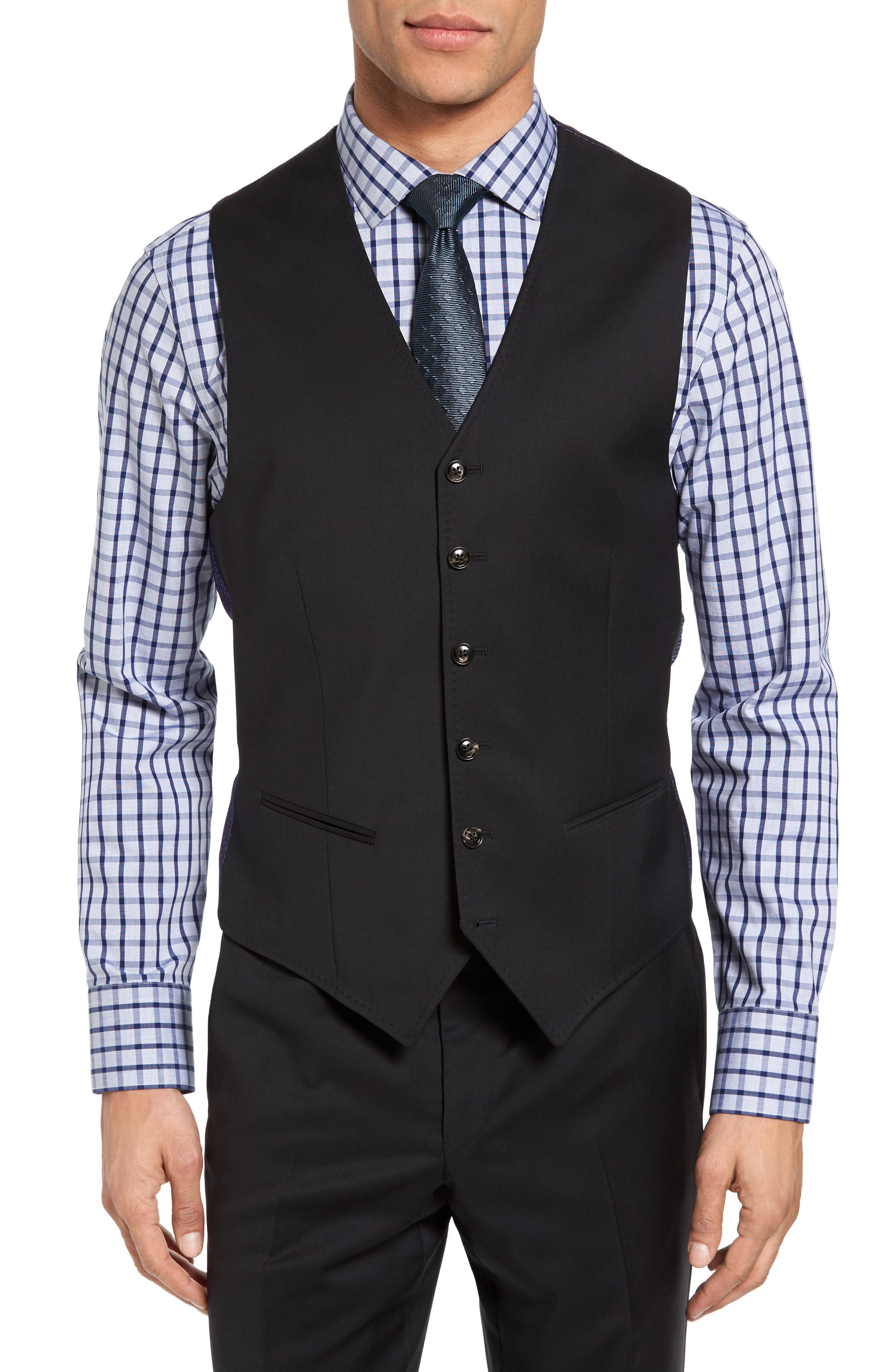 Jones Trim Fit Wool Vest,                             Main thumbnail 1, color,                             001