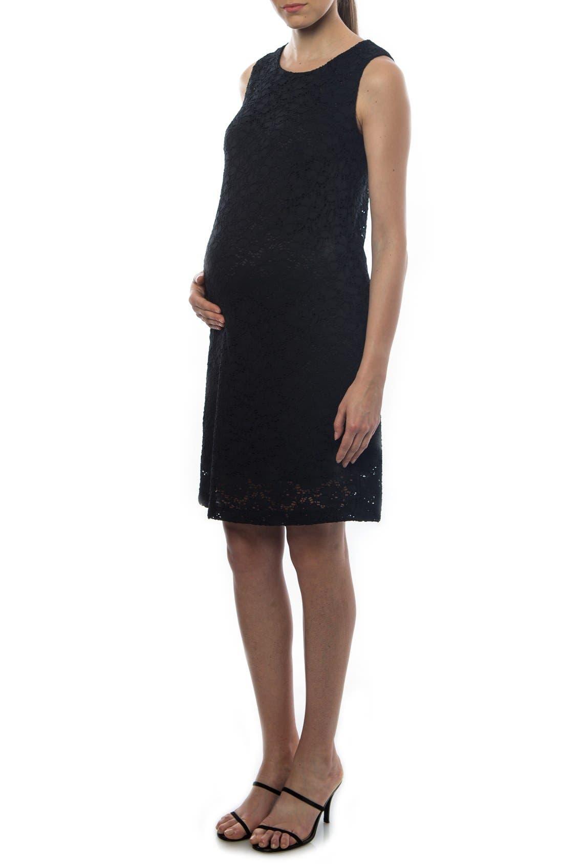 'Danubio' Lace Maternity Shift Dress,                             Alternate thumbnail 3, color,                             BLACK