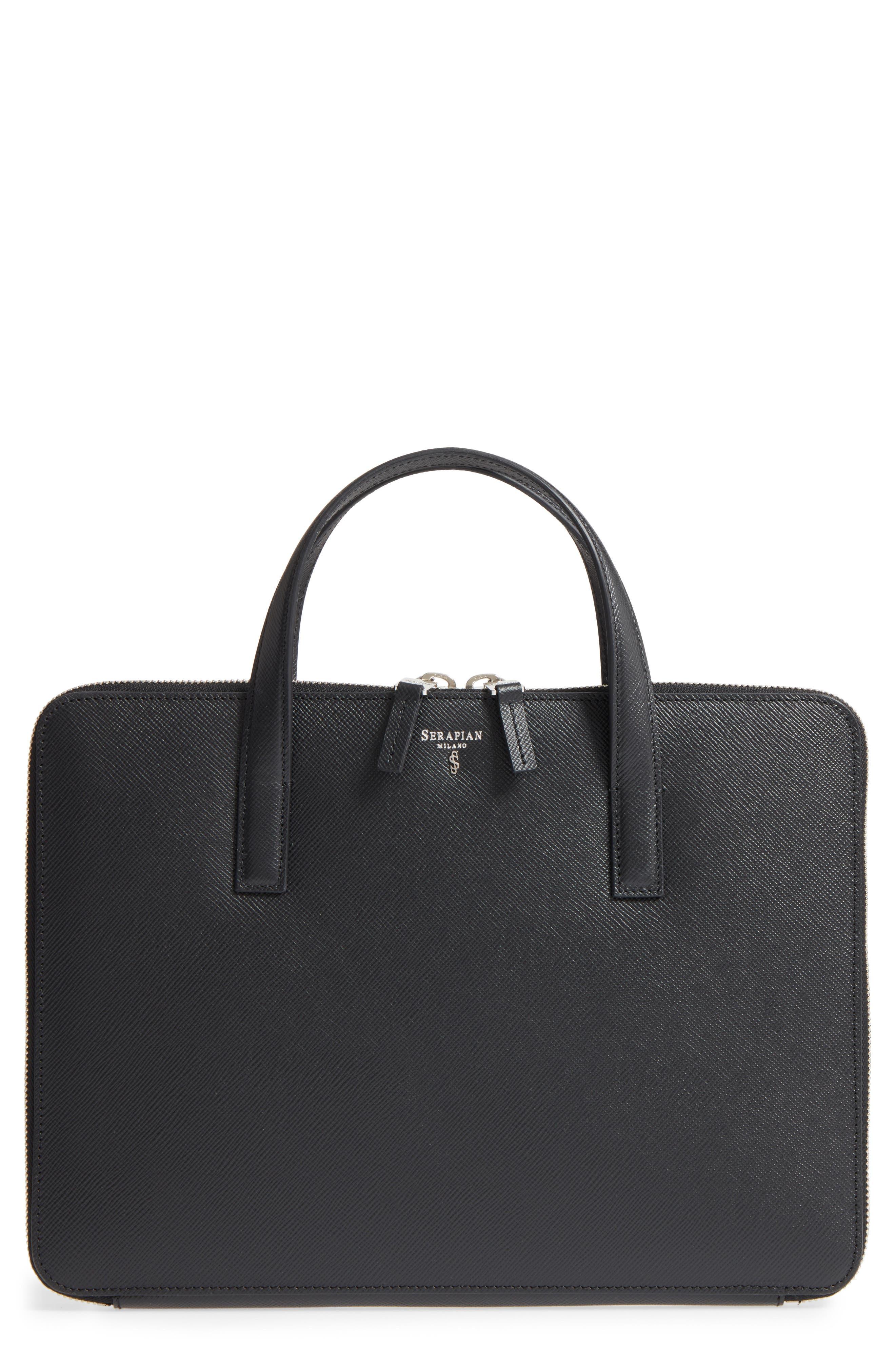 Flat Calfskin Briefcase,                         Main,                         color,