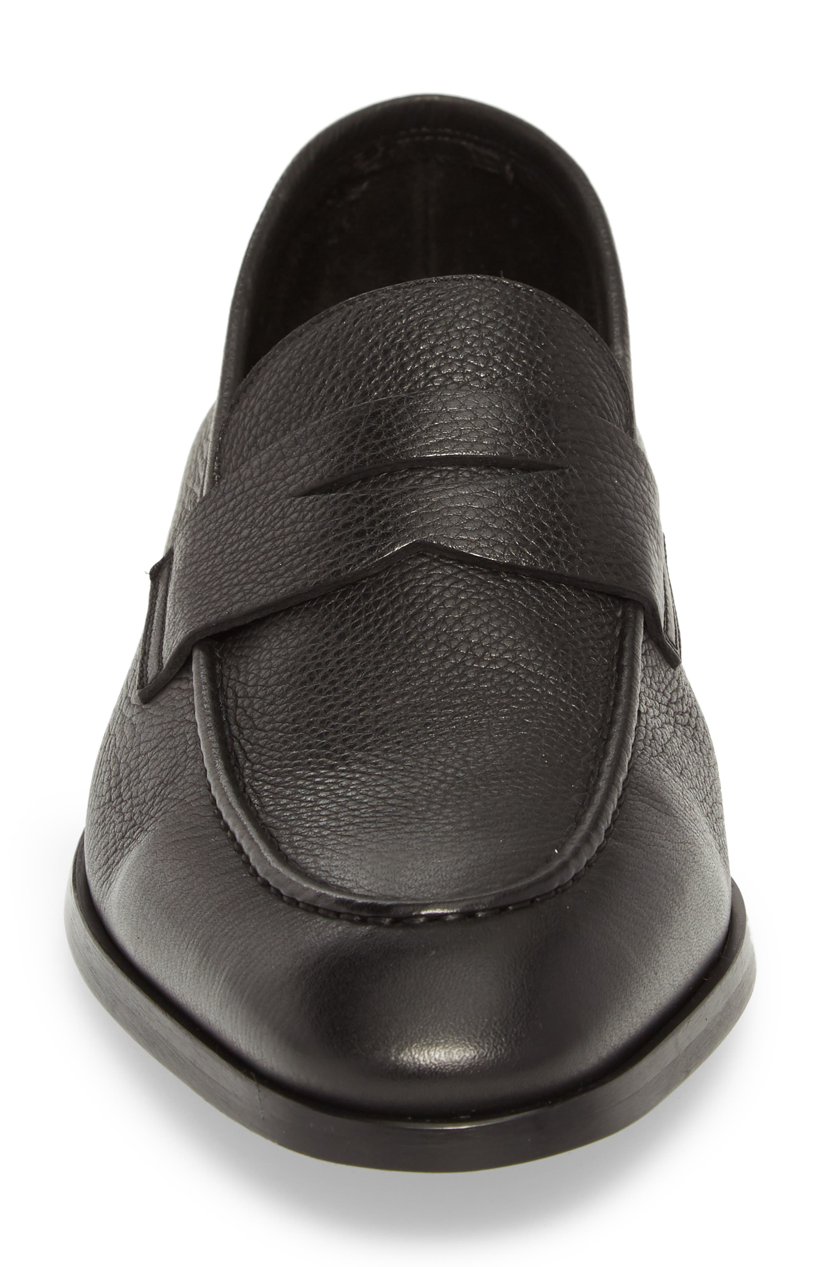 TO BOOT NEW YORK,                             Johnson Penny Loafer,                             Alternate thumbnail 4, color,                             BLACK PEBBLED LEATHER