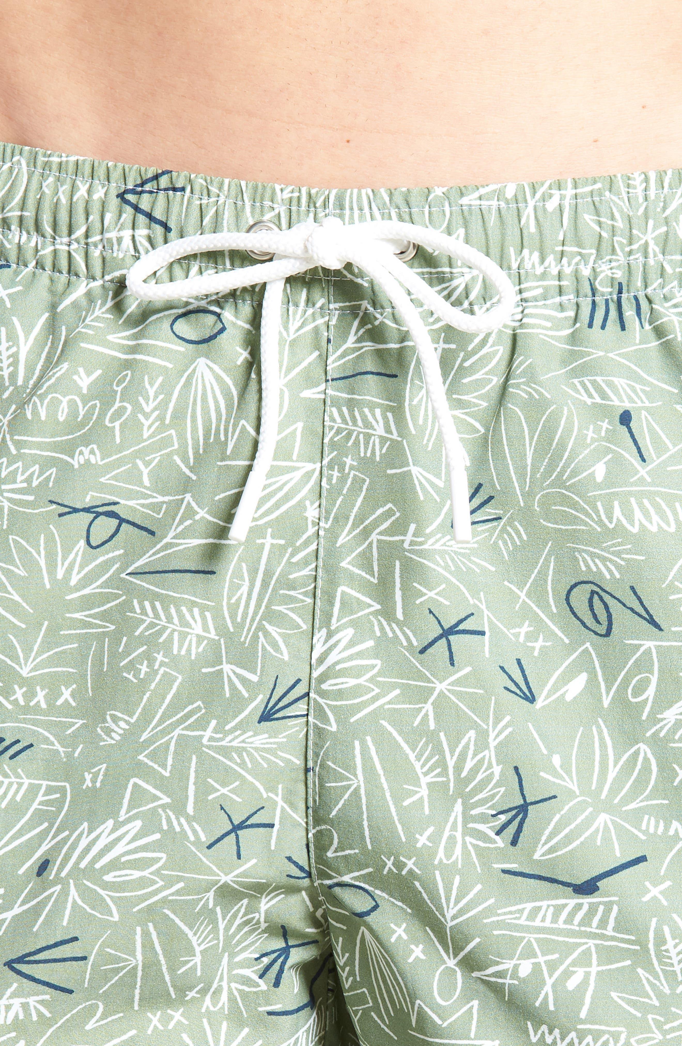 Flowing Print Swim Trunks,                             Alternate thumbnail 4, color,                             300
