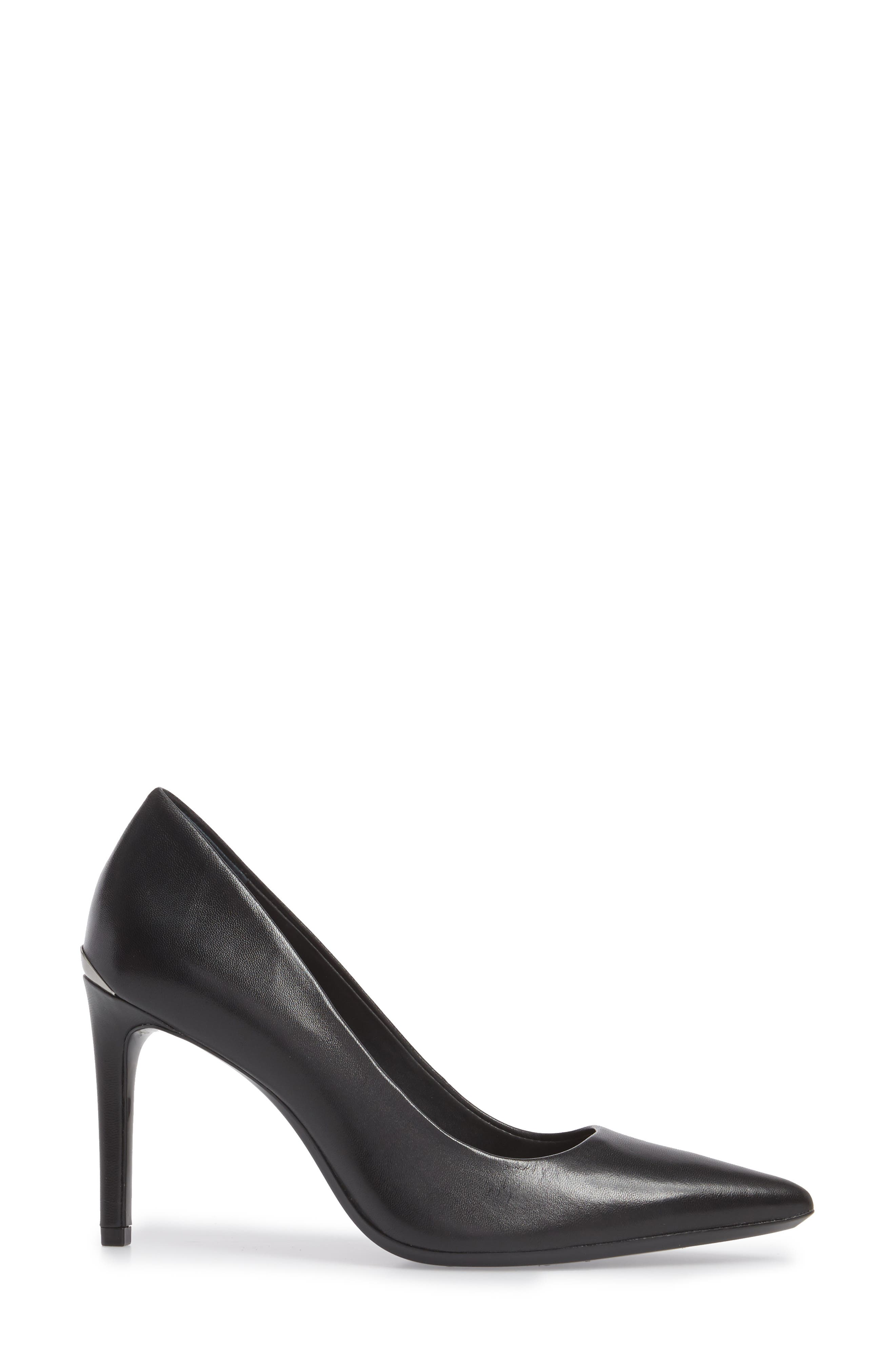 Ronna Pointy Toe Pump,                             Alternate thumbnail 3, color,                             BLACK LEATHER