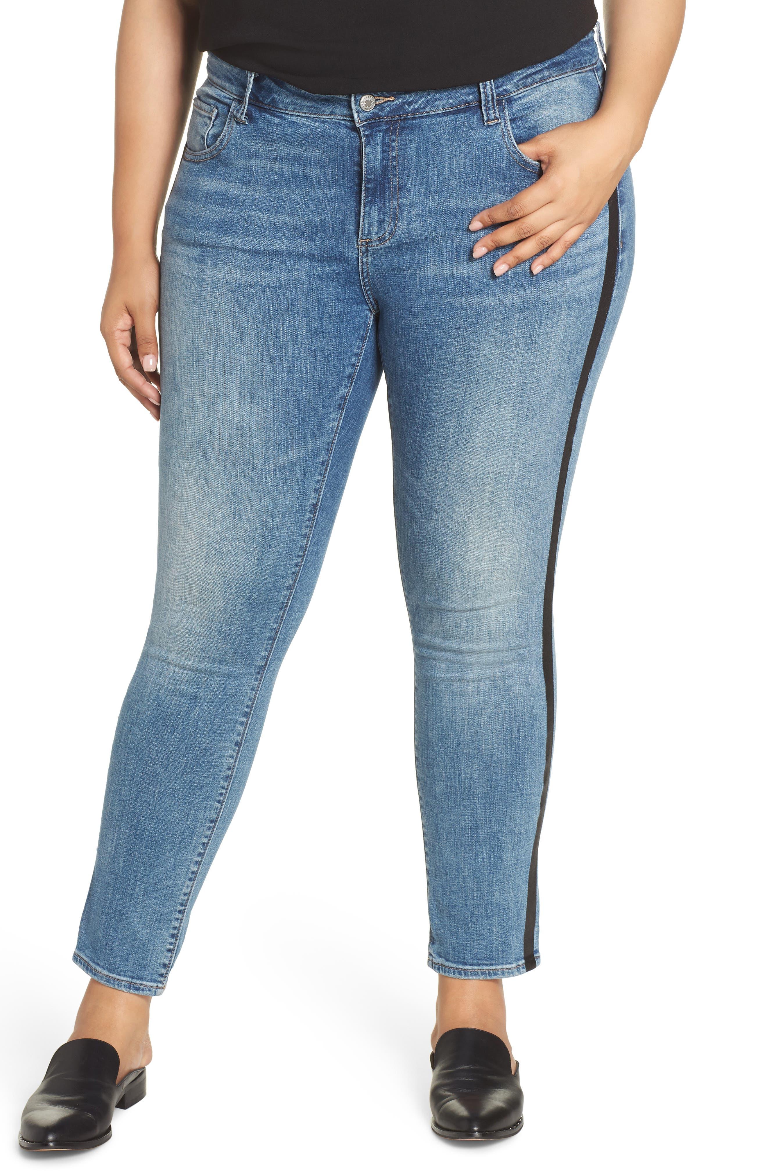 Ginger Glitter Stripe Skinny Jeans,                             Main thumbnail 1, color,                             420