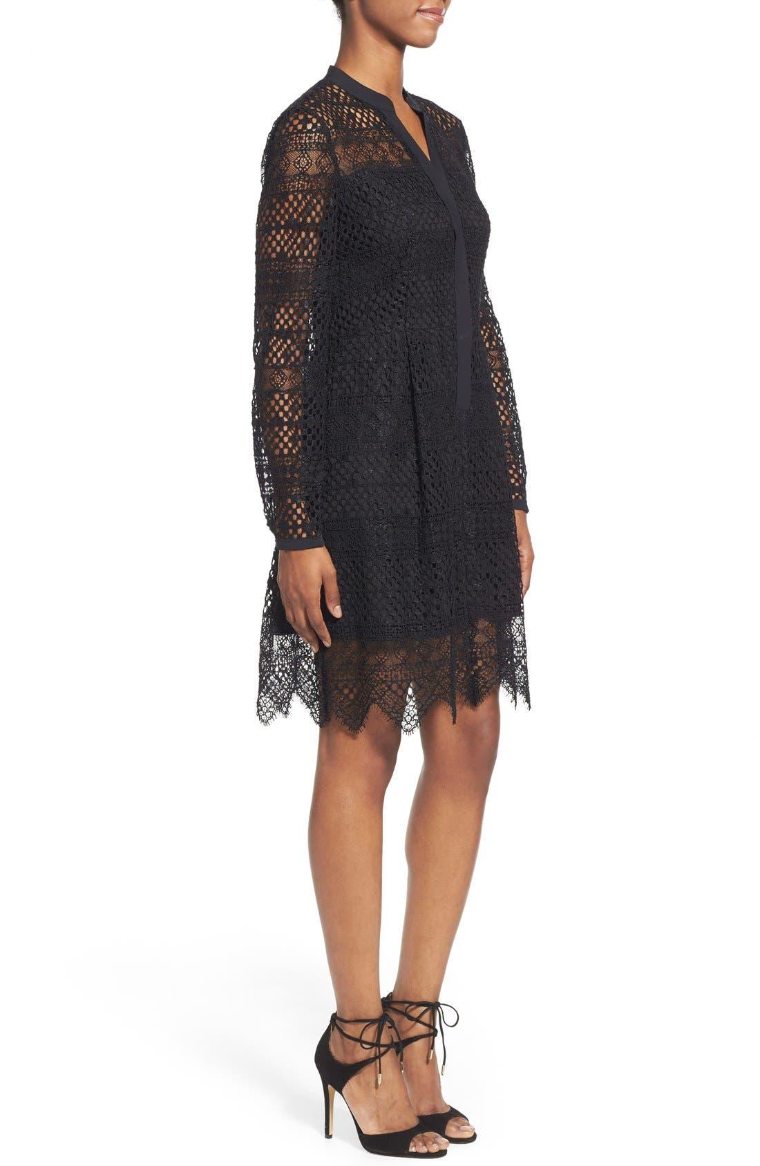 TAHARI,                             Elie Tahari 'Whitney' Split Neck Lace Sheath Dress,                             Alternate thumbnail 5, color,                             001