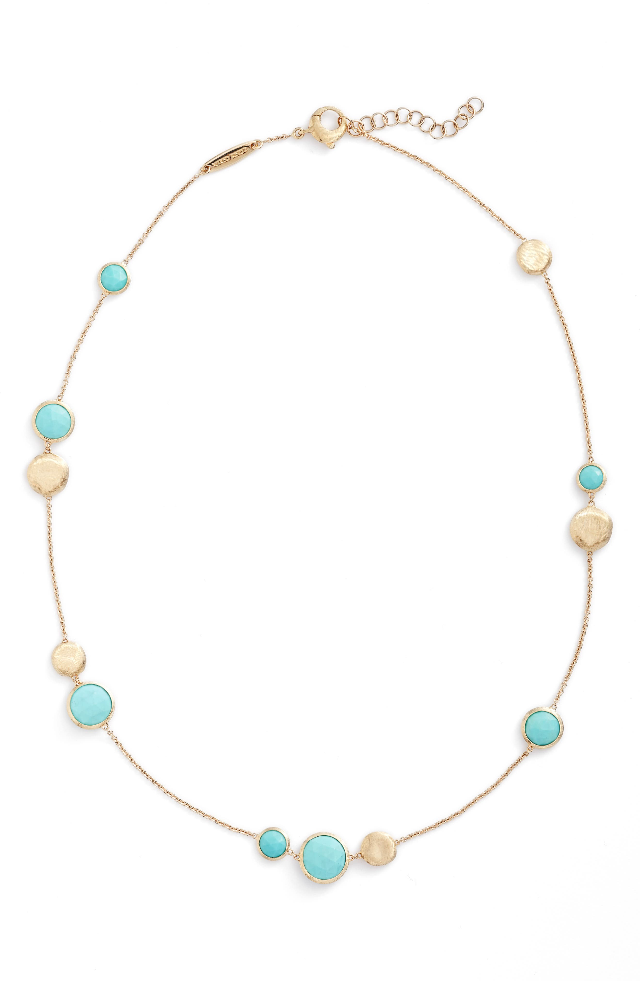 Jaipur Stone Collar Necklace,                         Main,                         color, YELLOW GOLD/ TURQUOISE