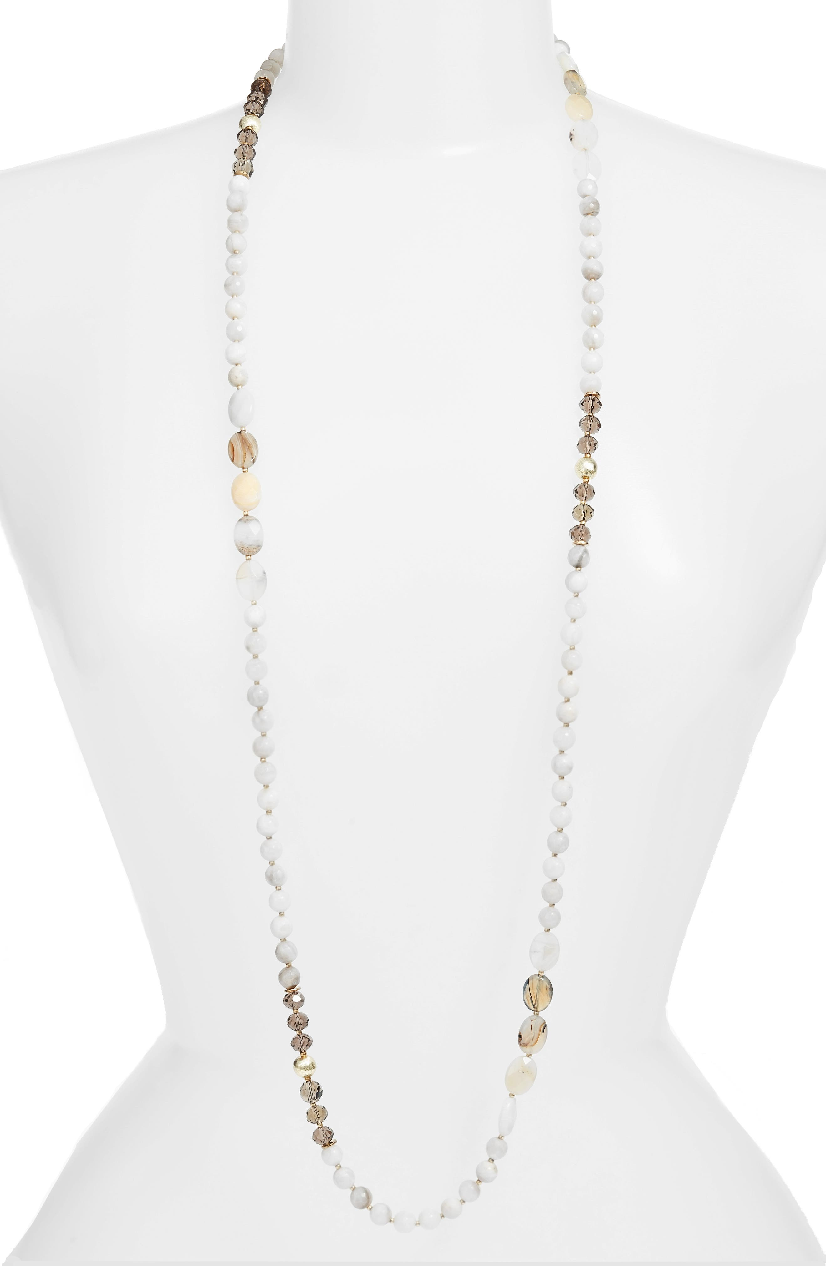 Love's Affect Bailey Semiprecious Stone Necklace,                             Main thumbnail 1, color,                             WHITE