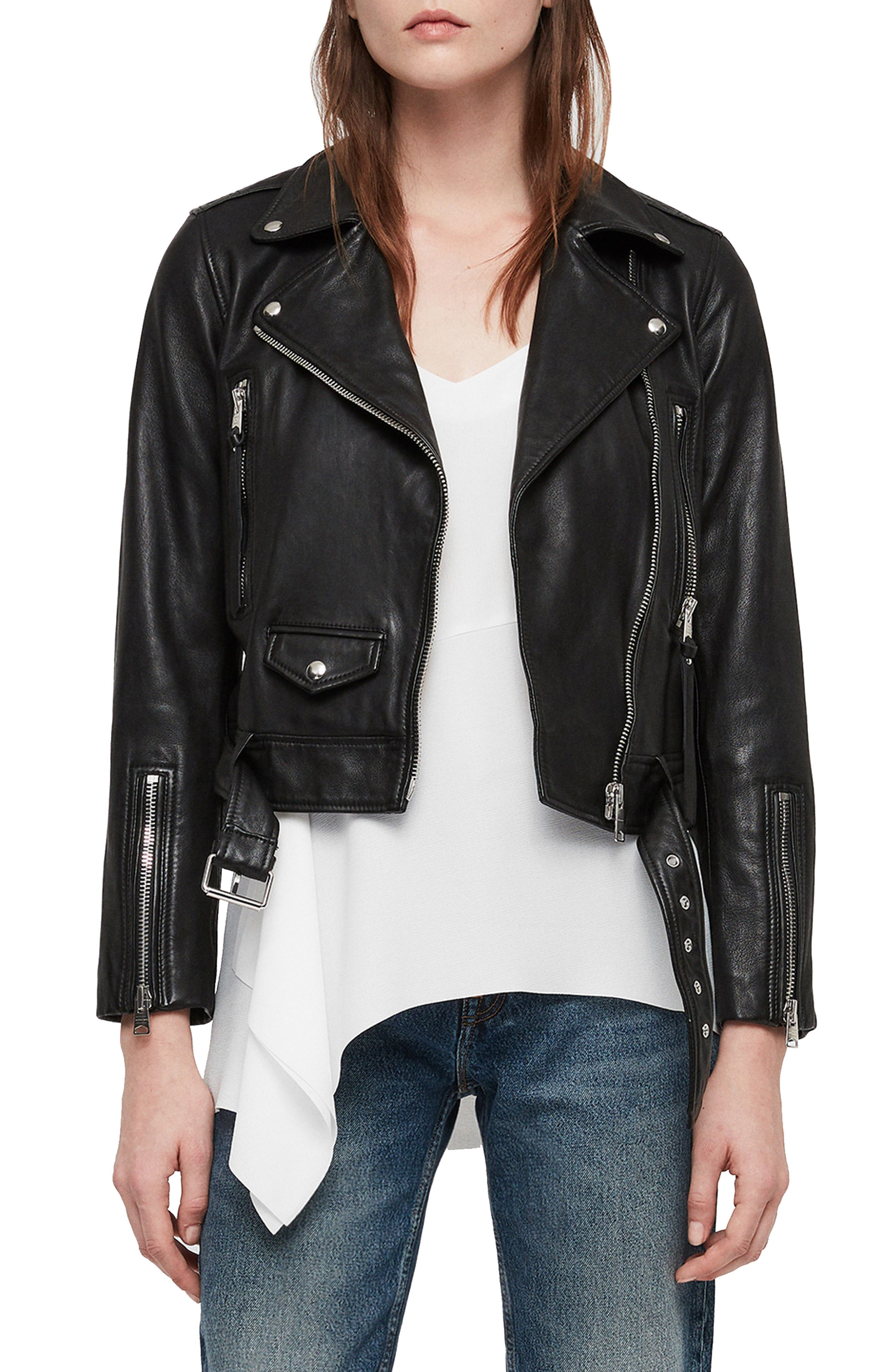 Juno Leather Biker Jacket,                             Main thumbnail 1, color,                             BLACK