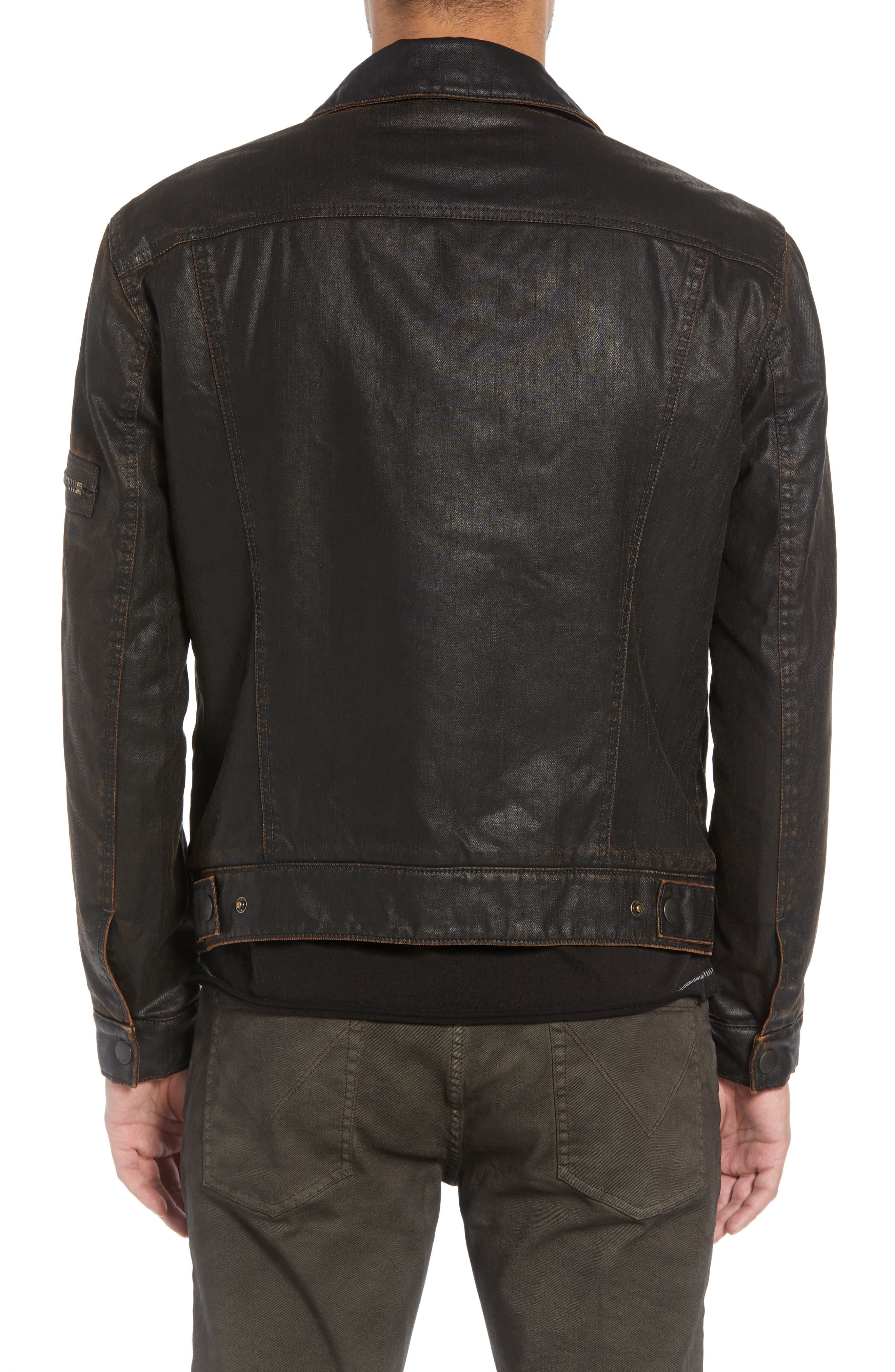 Faux Shearling Lined Coated Trucker Jacket,                             Alternate thumbnail 2, color,                             CHOCOLATE