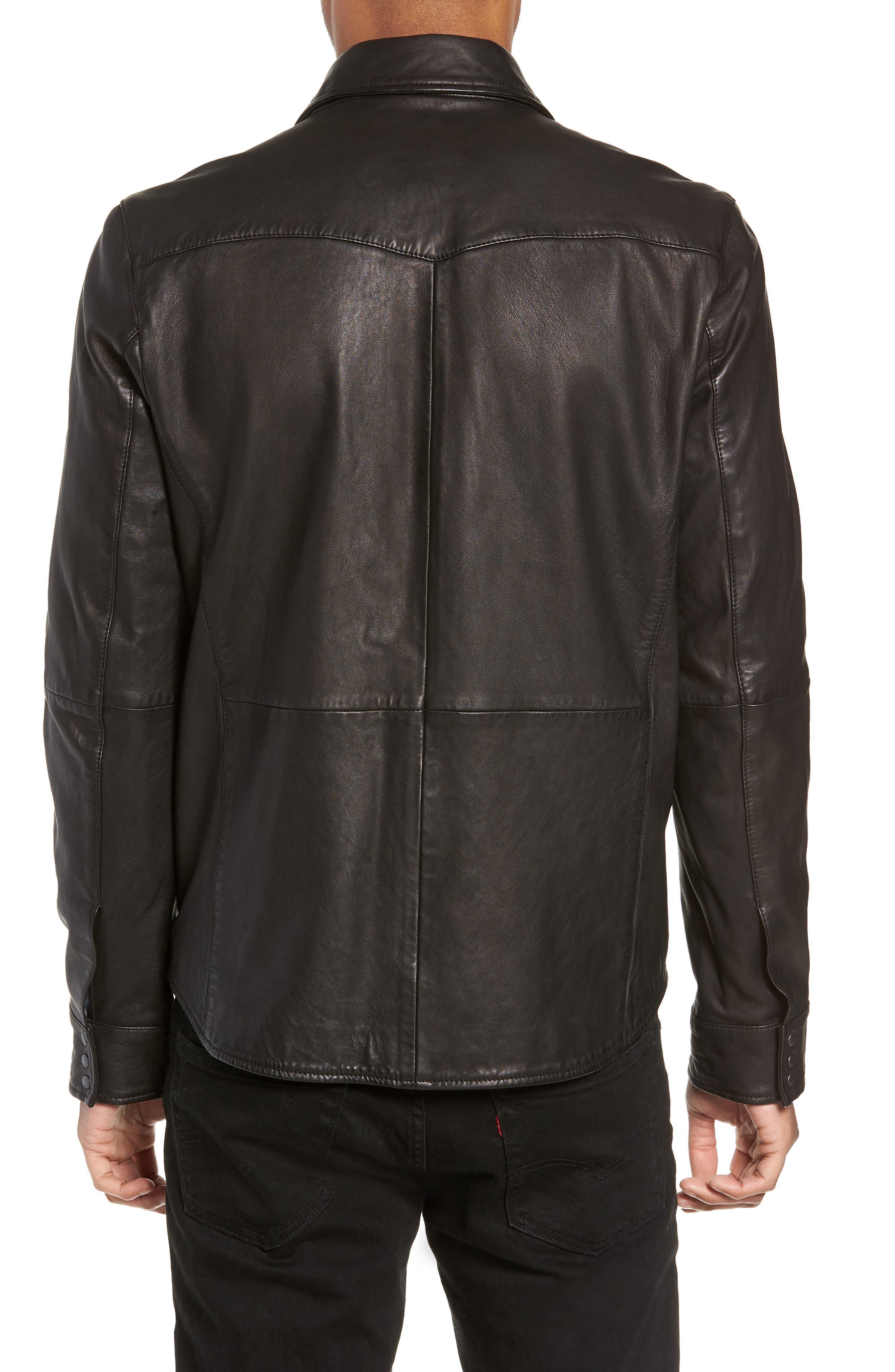 Oiled Lambskin Leather Shirt Jacket,                             Alternate thumbnail 2, color,                             001
