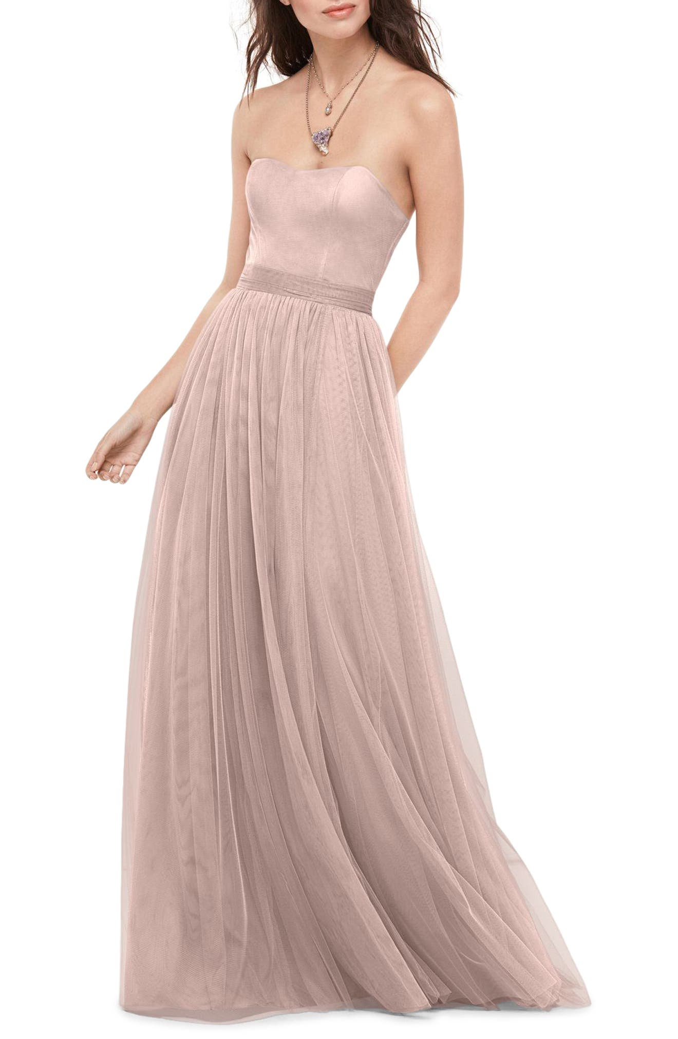 Bobbinet Strapless Gown,                             Main thumbnail 3, color,