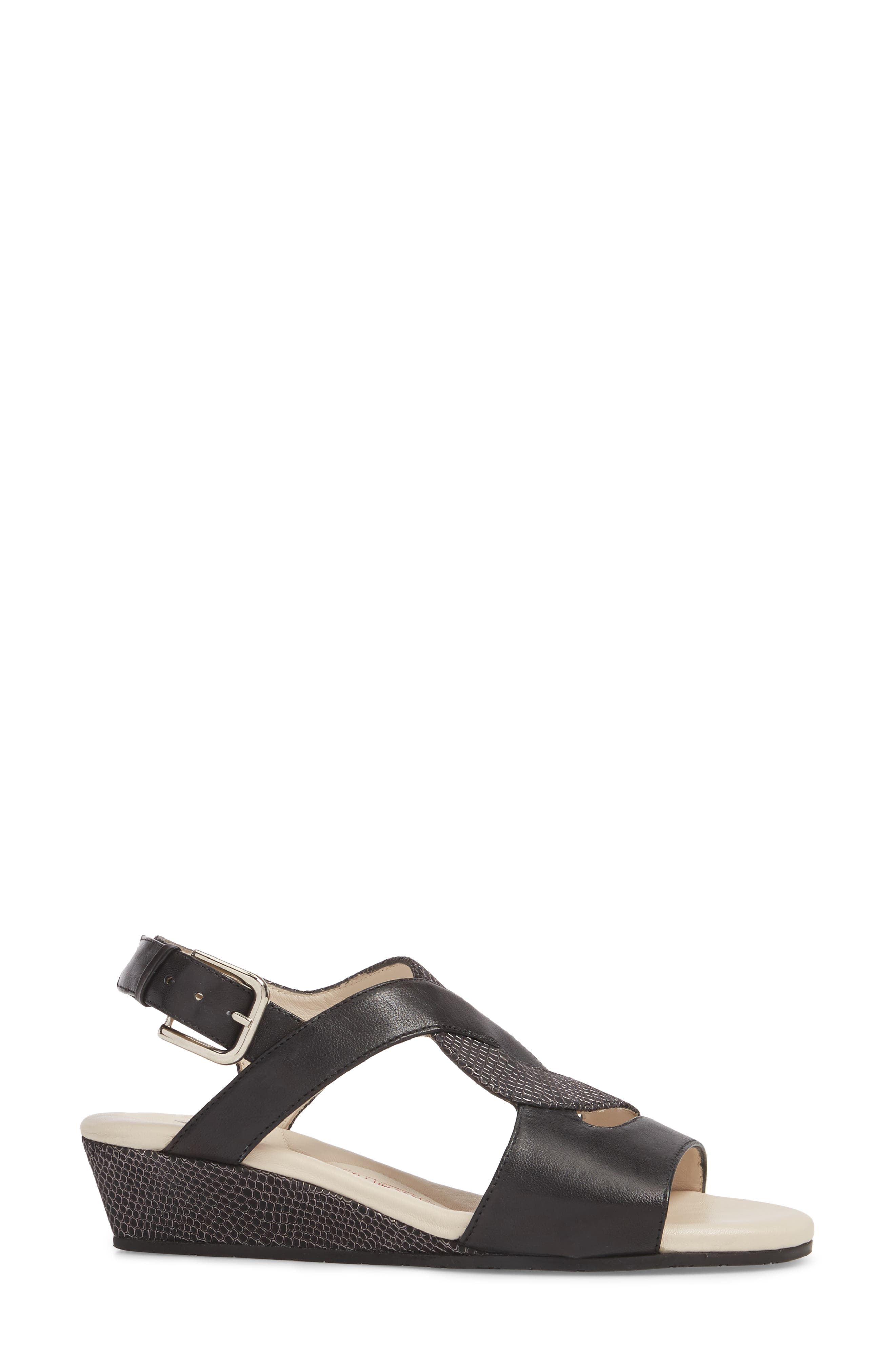 Morosa Wedge Sandal,                             Alternate thumbnail 3, color,                             GRAPHITE LEATHER