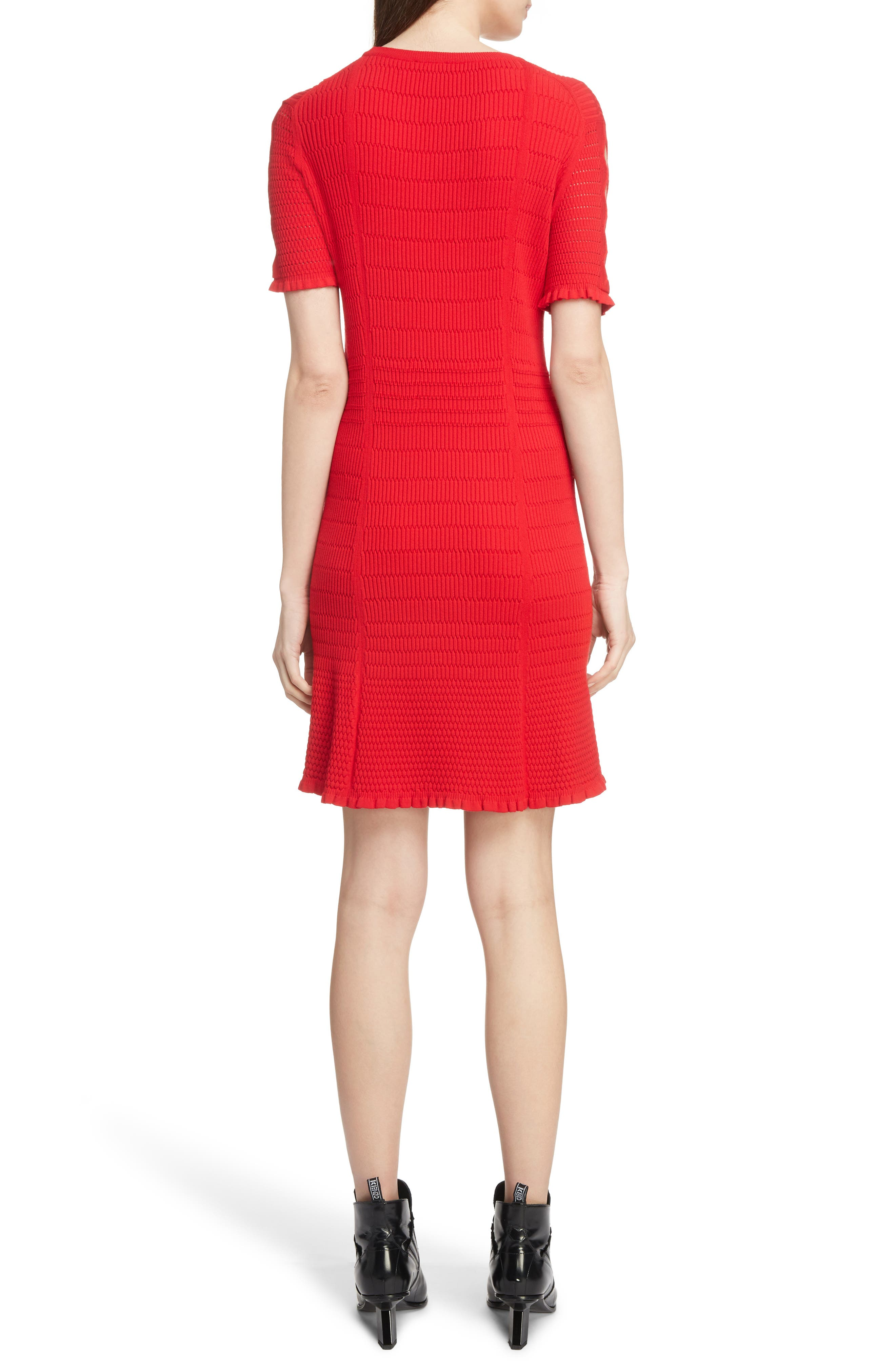 Textured Knit Dress,                             Alternate thumbnail 2, color,                             RED