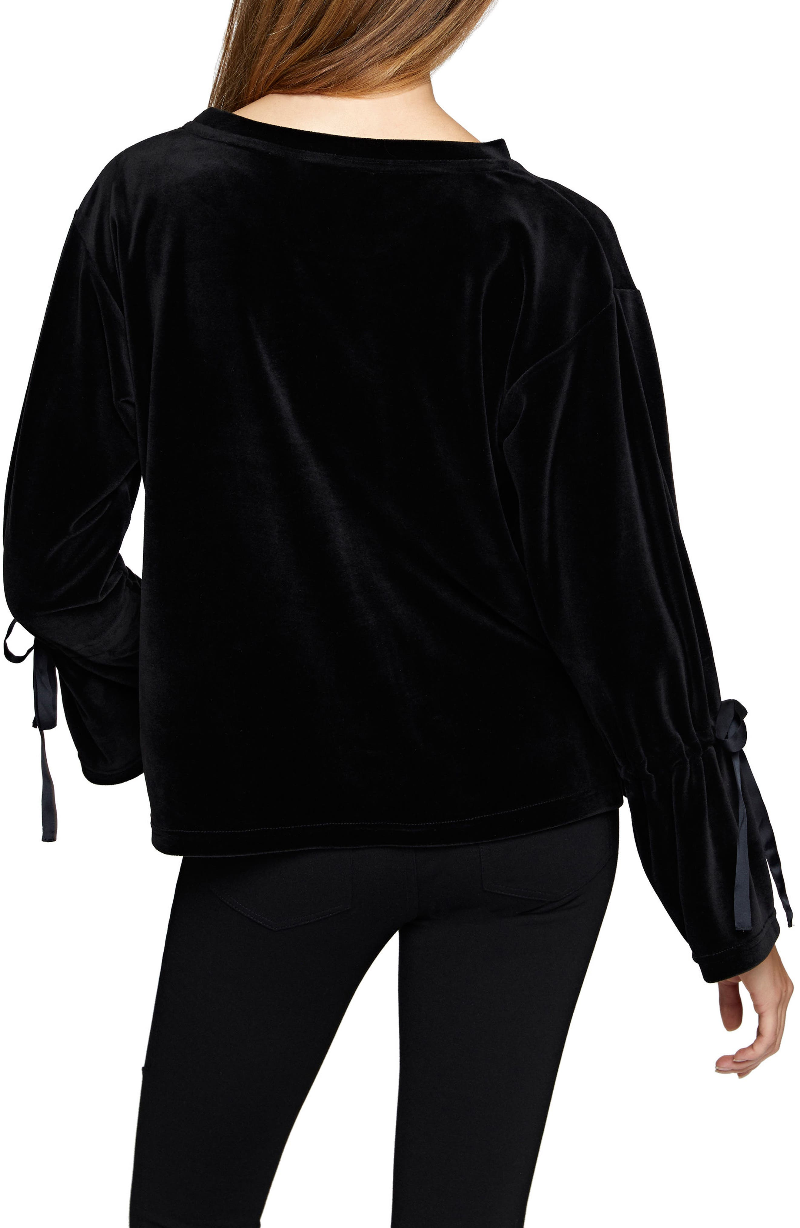 Tierney Tie Sleeve Velour Top,                             Alternate thumbnail 4, color,