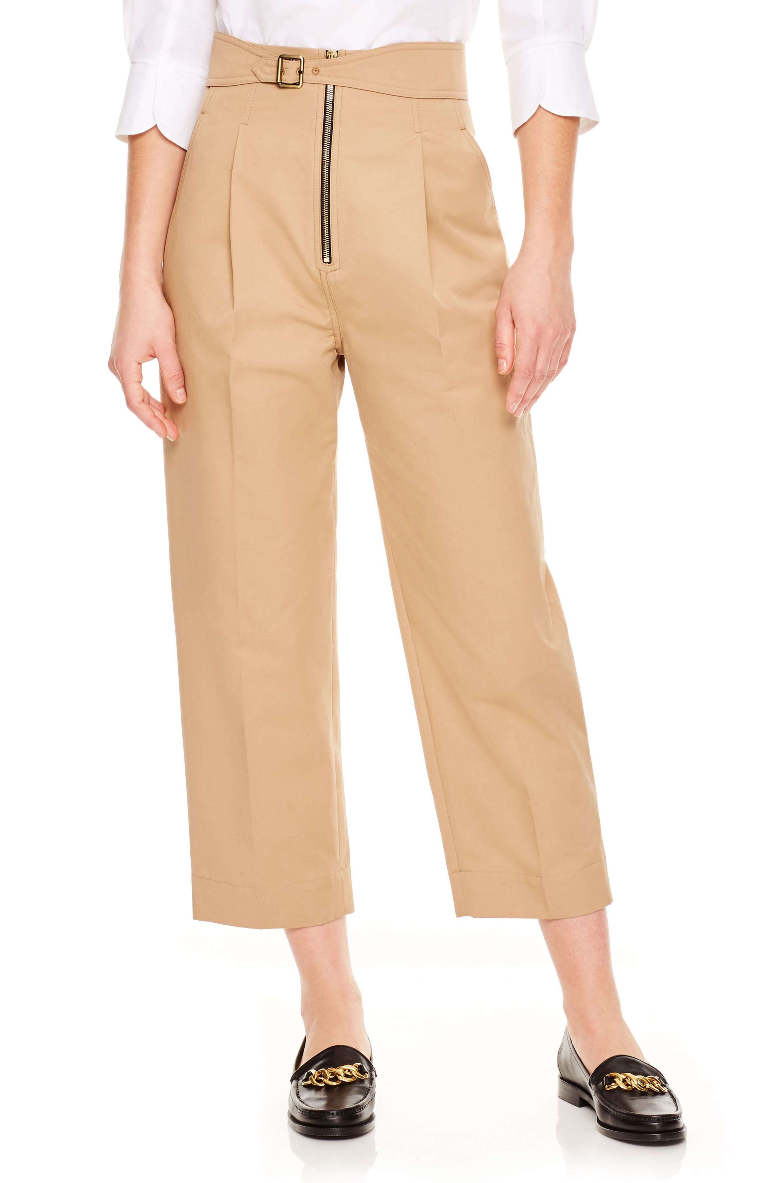 SANDRO,                             Beige Wide Leg Crop Pants,                             Main thumbnail 1, color,                             250