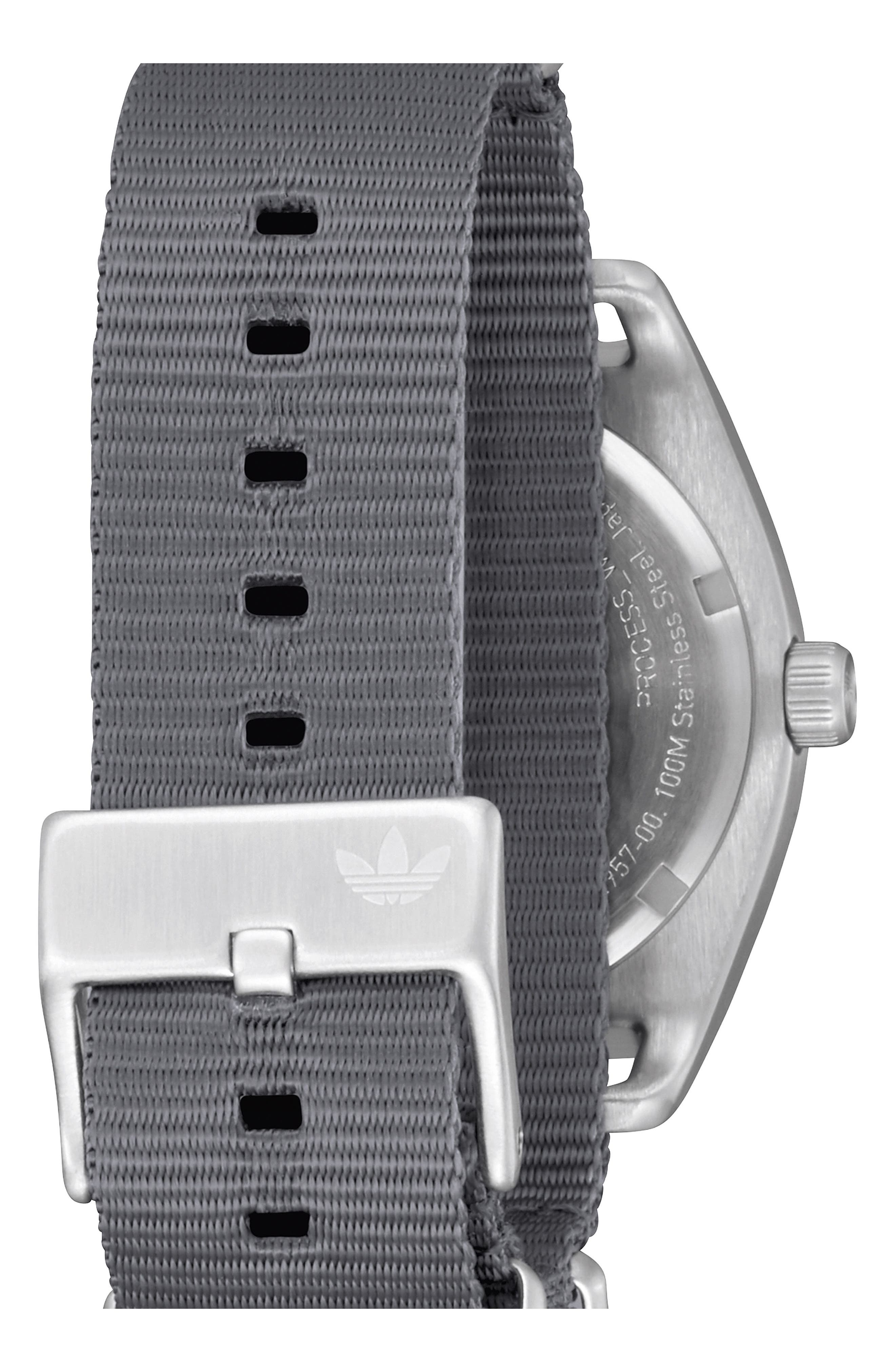 Process NATO Strap Watch, 38mm,                             Alternate thumbnail 2, color,                             GREY/ BLACK/ SILVER