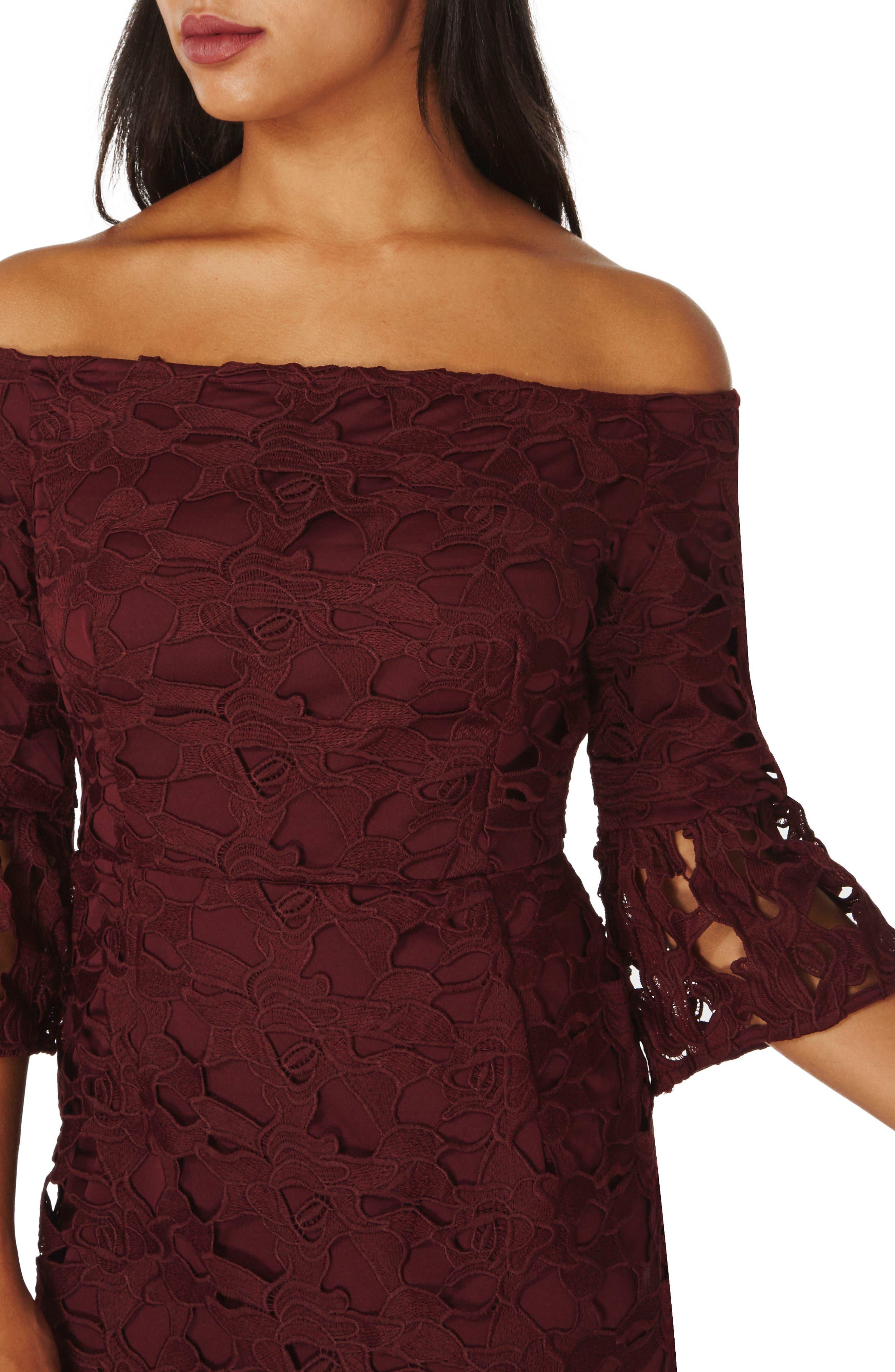 Lace Off the Shoulder Dress,                             Alternate thumbnail 3, color,                             931