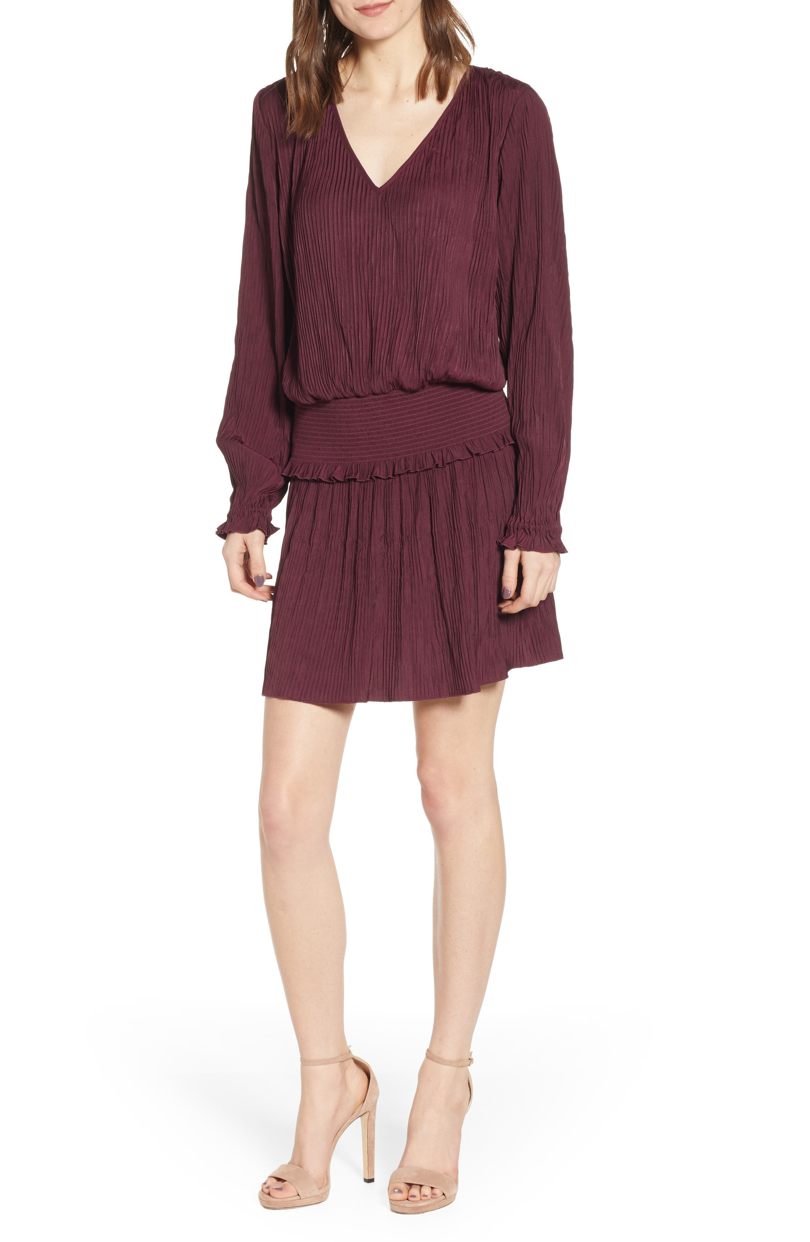 CHELSEA28, Smock Waist Crinkle Dress, Main thumbnail 1, color, BURGUNDY STEM