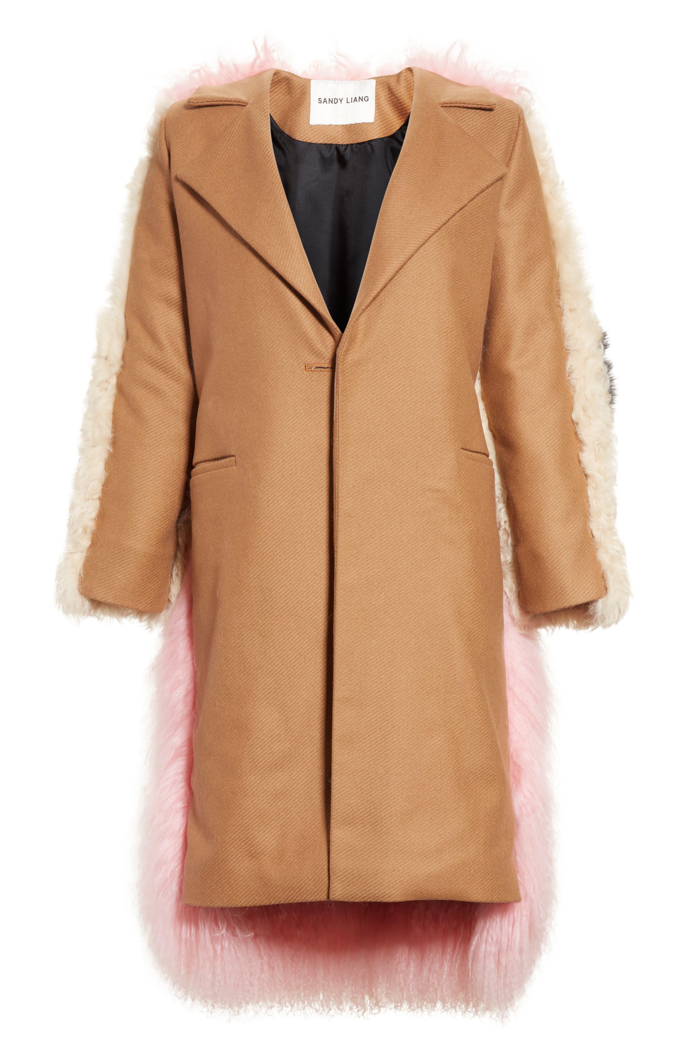 Mingo Wool Blend & Genuine Shearling Coat,                             Alternate thumbnail 5, color,                             250