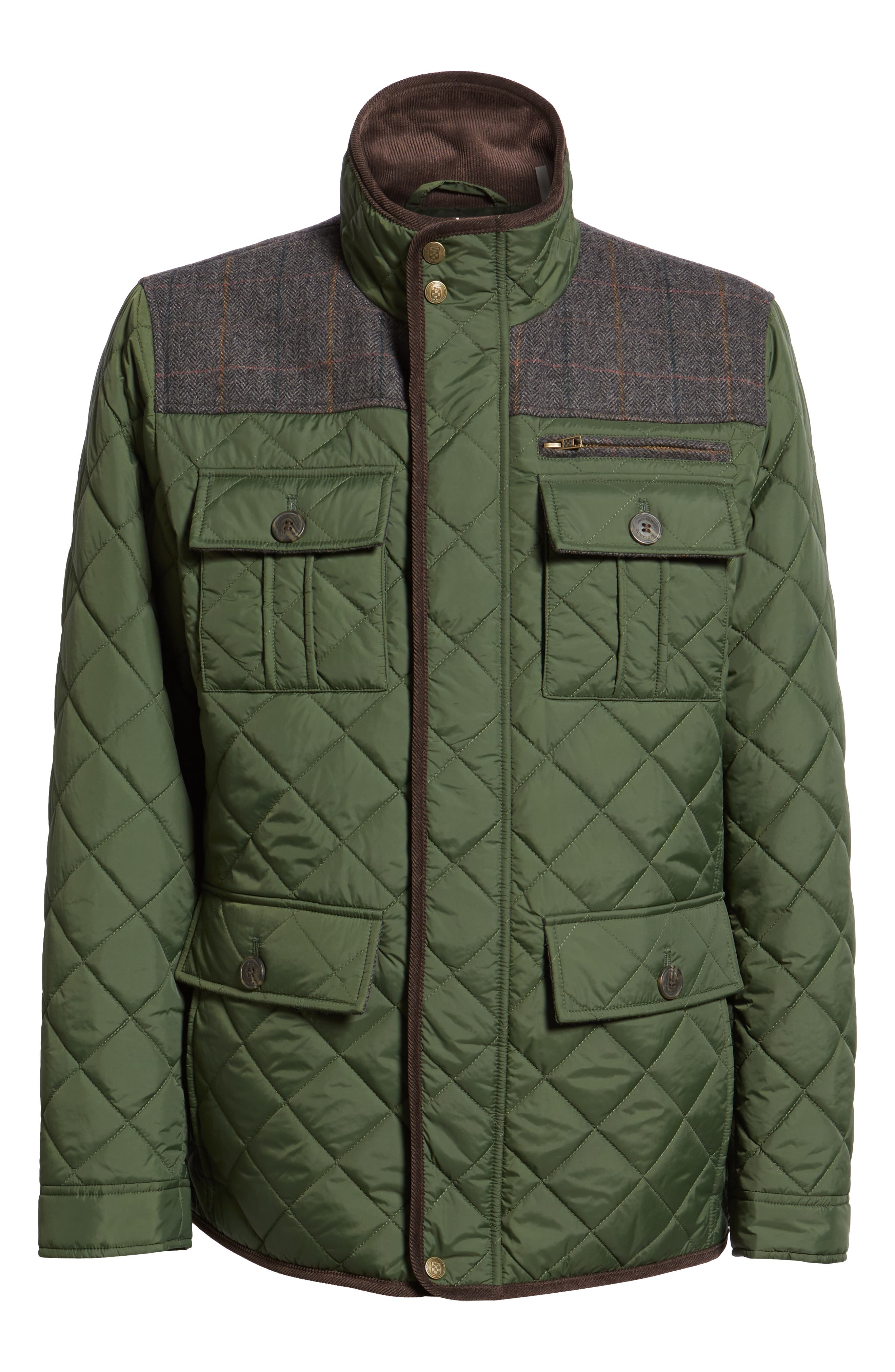 Diamond Quilted Full Zip Jacket,                             Alternate thumbnail 6, color,                             OLIVE