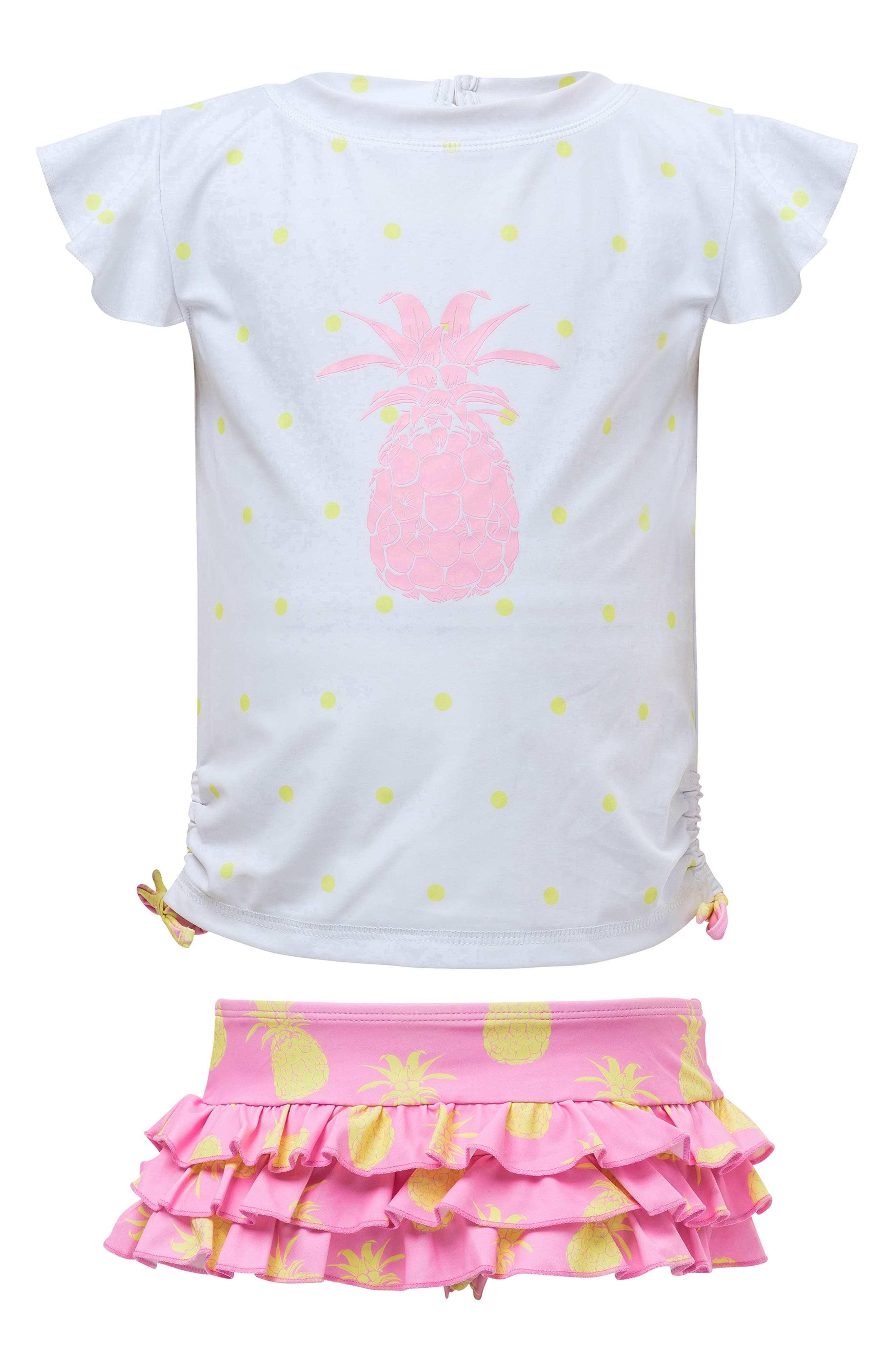 Pineapple Two-Piece Short Sleeve Ruffle Swimsuit, Main, color, PINK YELLOW PINEAPPLE