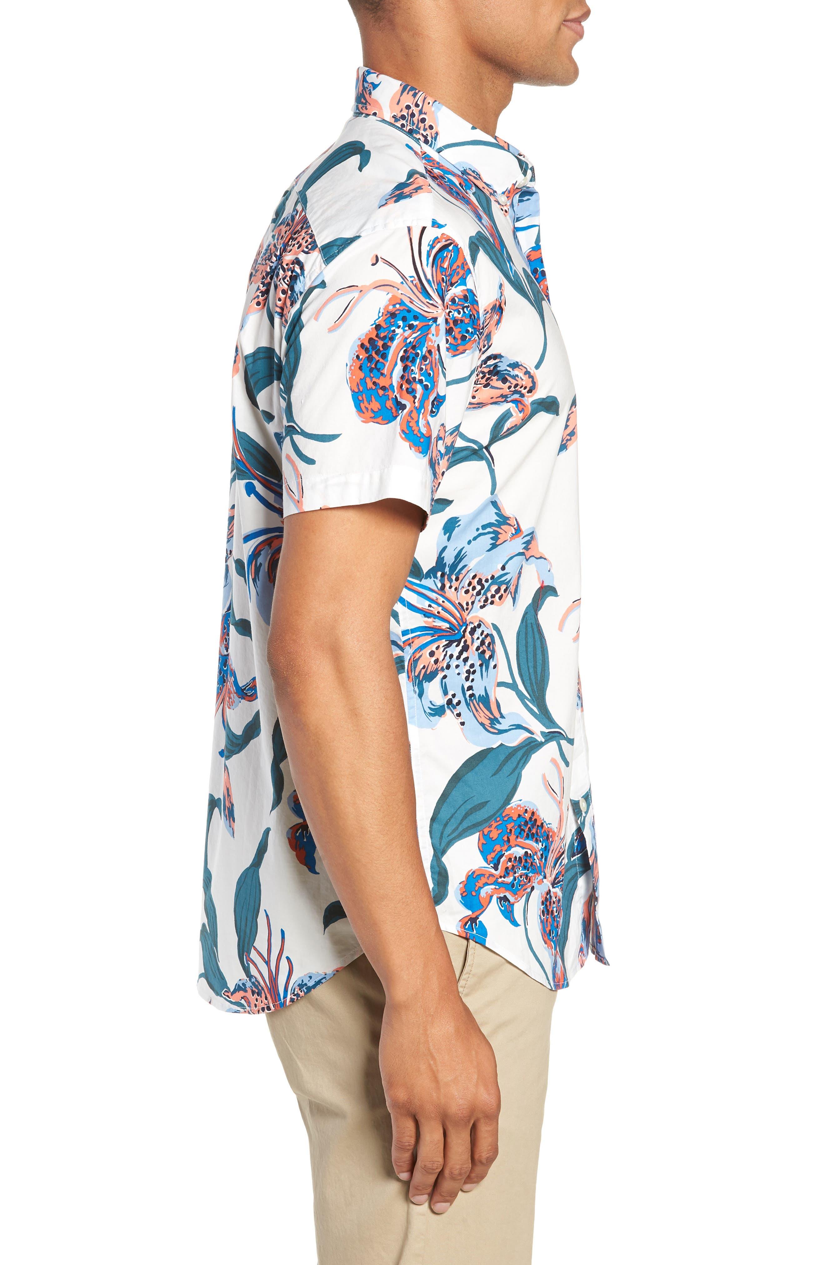 Riviera Slim Fit Floral Sport Shirt,                             Alternate thumbnail 4, color,                             BRIGHTON FLORAL - BLUE LEGACY