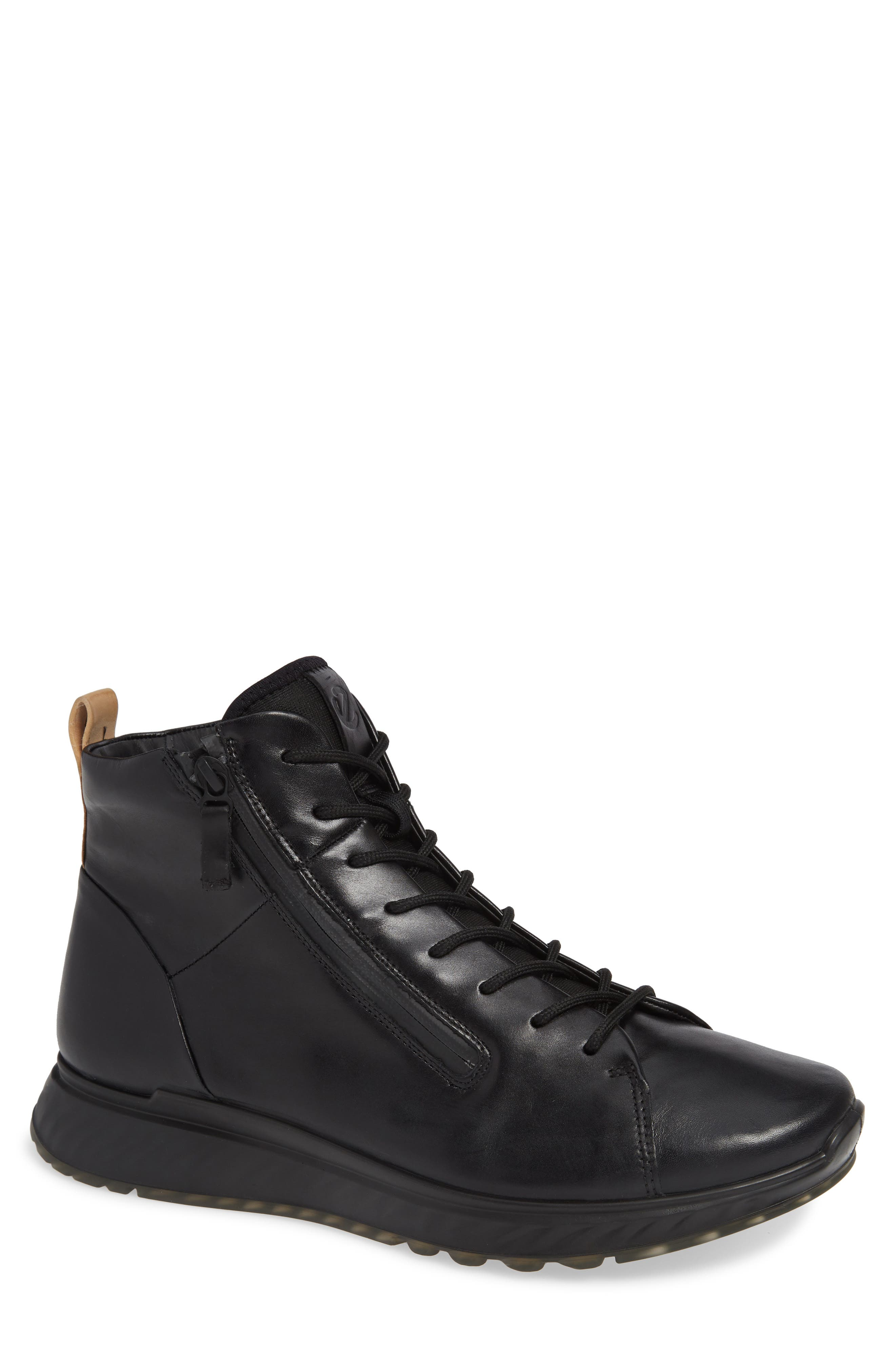 ST1 High Top Sneaker,                         Main,                         color, BLACK/BLACK LEATHER