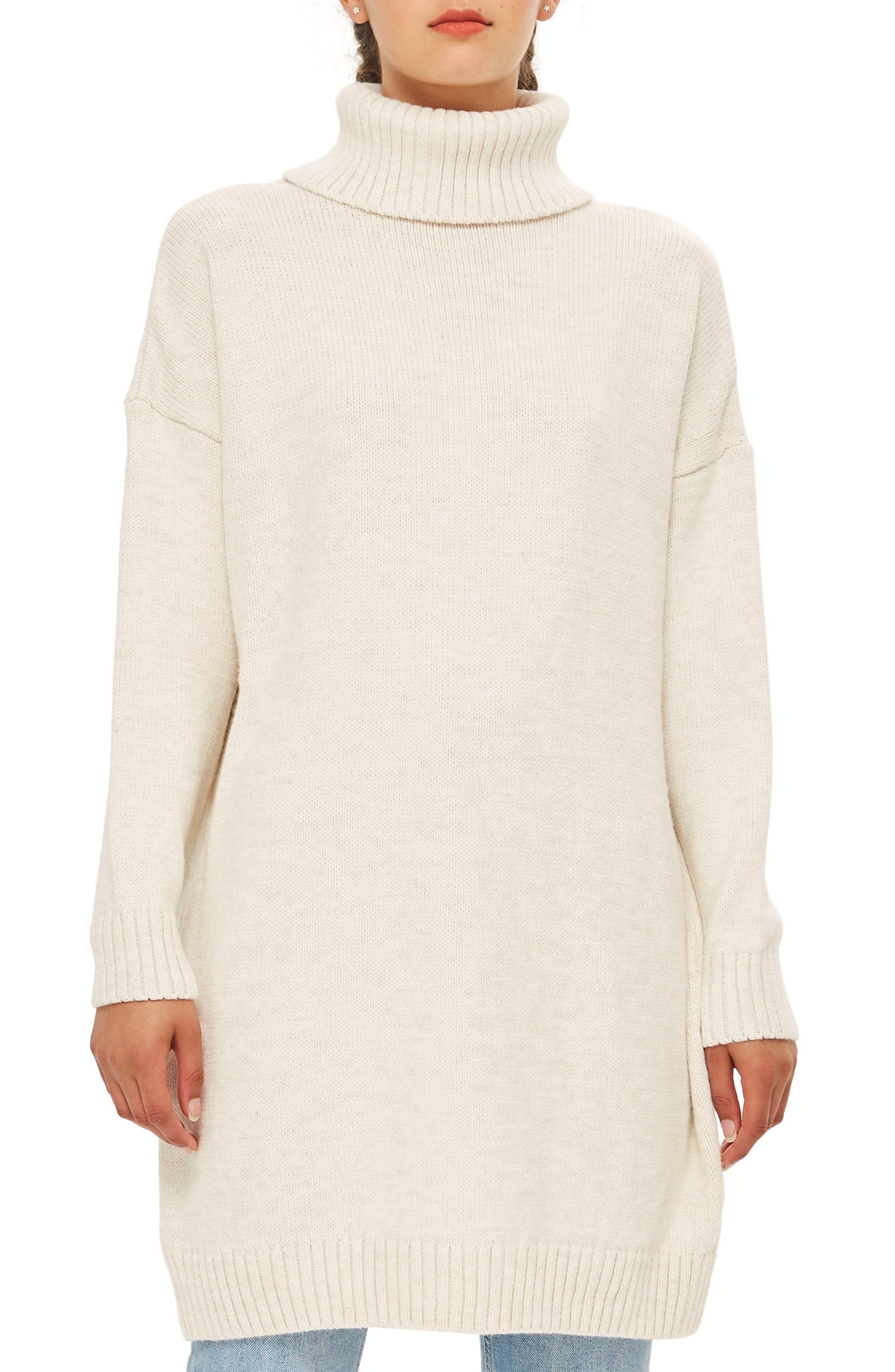 Topshop Turtleneck Sweater Dress, US (fits like 2-4) - Beige