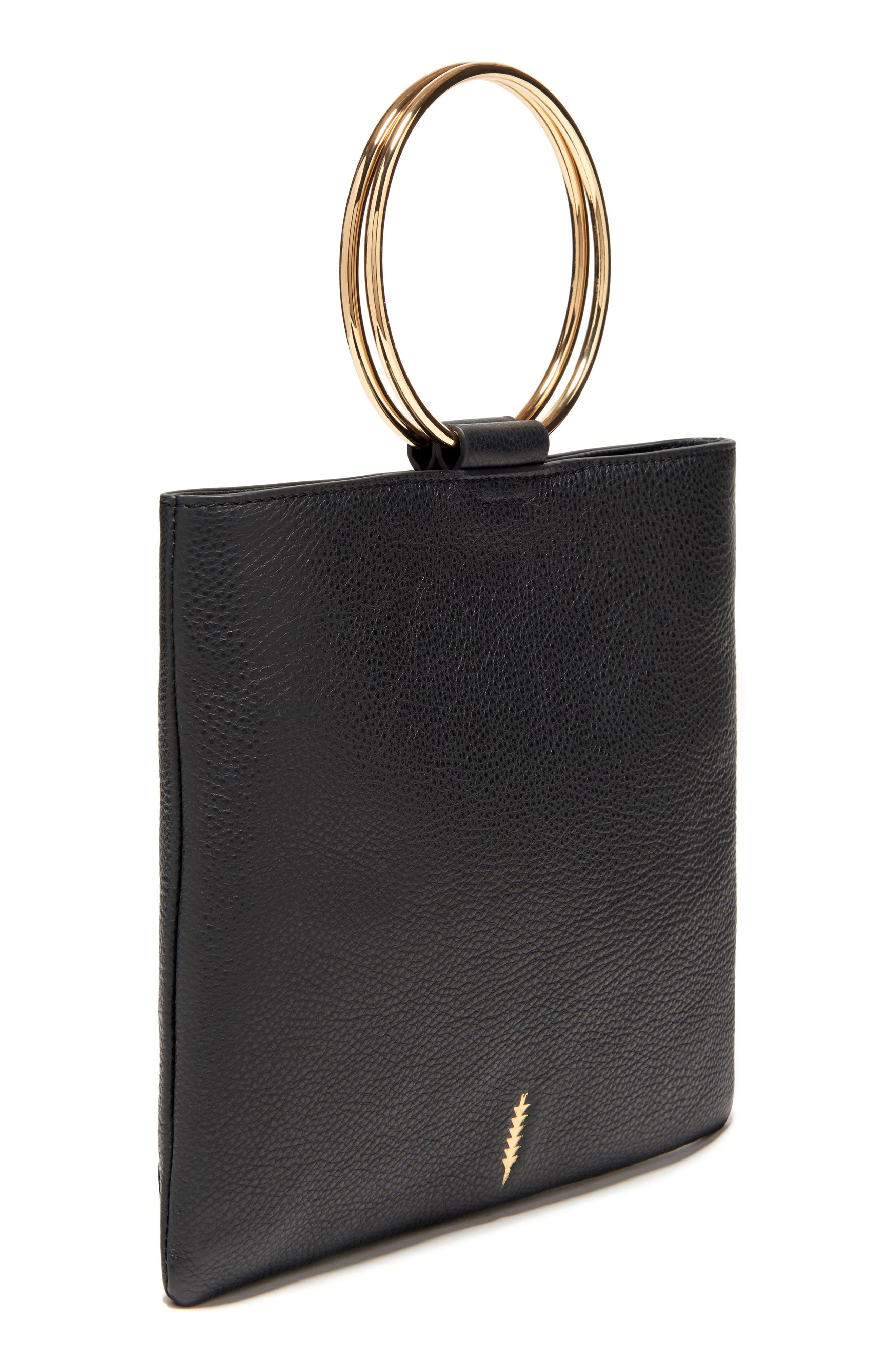 THACKER,                             Le Pouch Leather Ring Handle Crossbody Bag,                             Alternate thumbnail 3, color,                             001