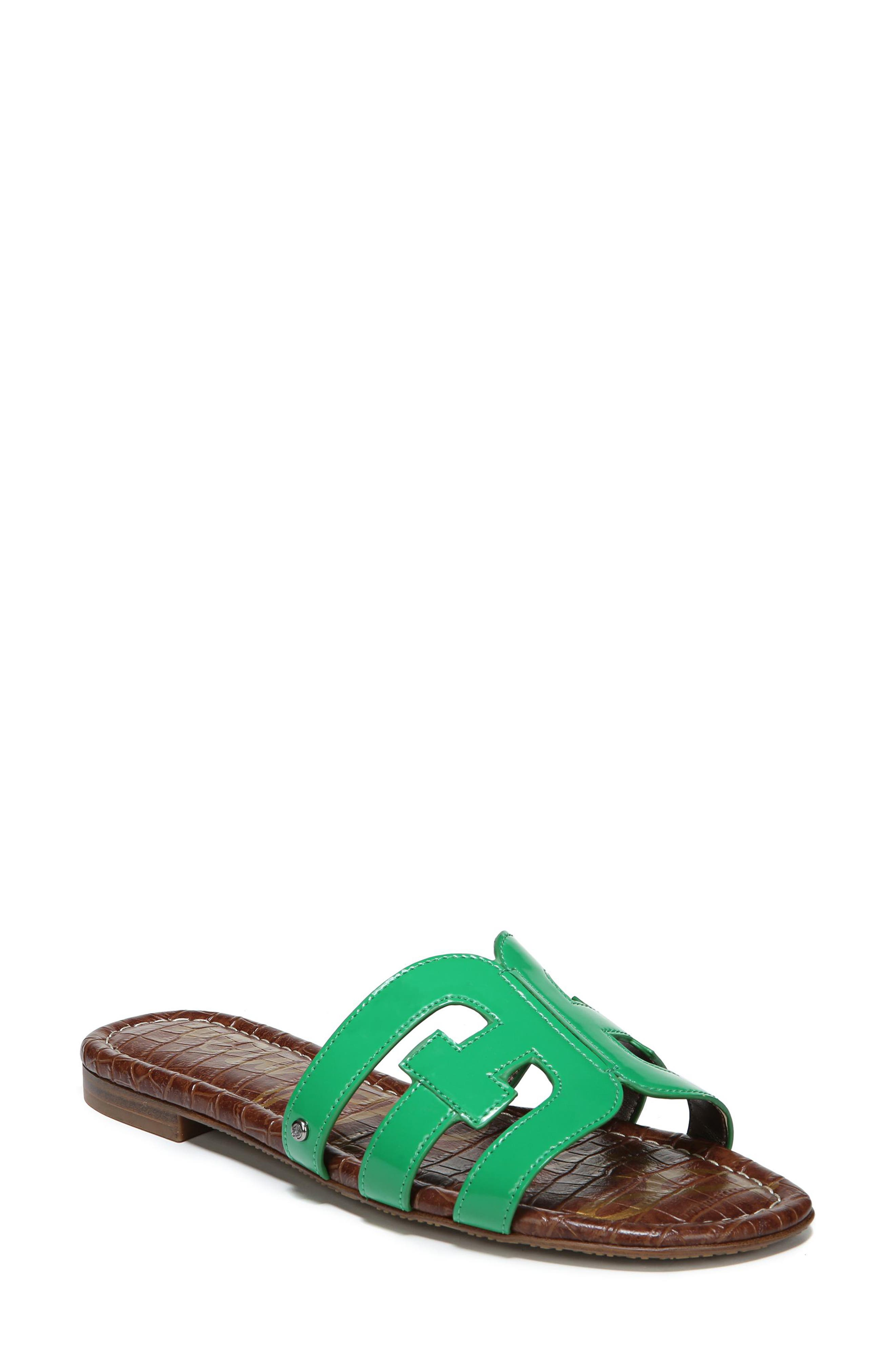 Bay Cutout Slide Sandal,                             Alternate thumbnail 6, color,                             LEAF GREEN PATENT LEATHER