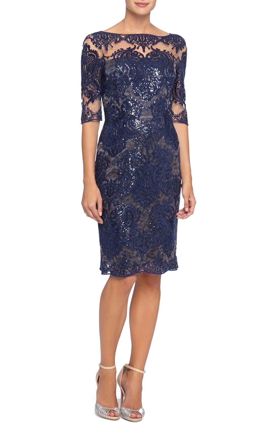 Sequin Lace Sheath Dress, Main, color, 412