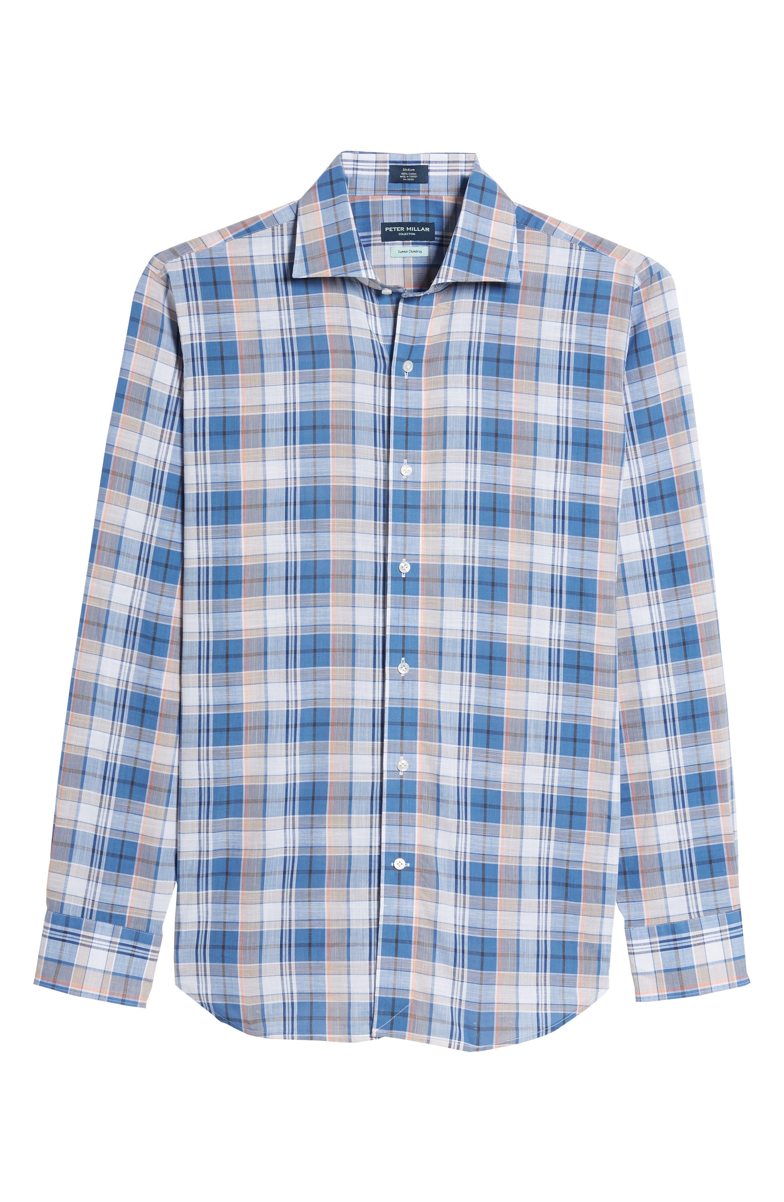 Summertime Stripe Seersucker Sport Shirt,                             Alternate thumbnail 6, color,                             BLUE CEILLO