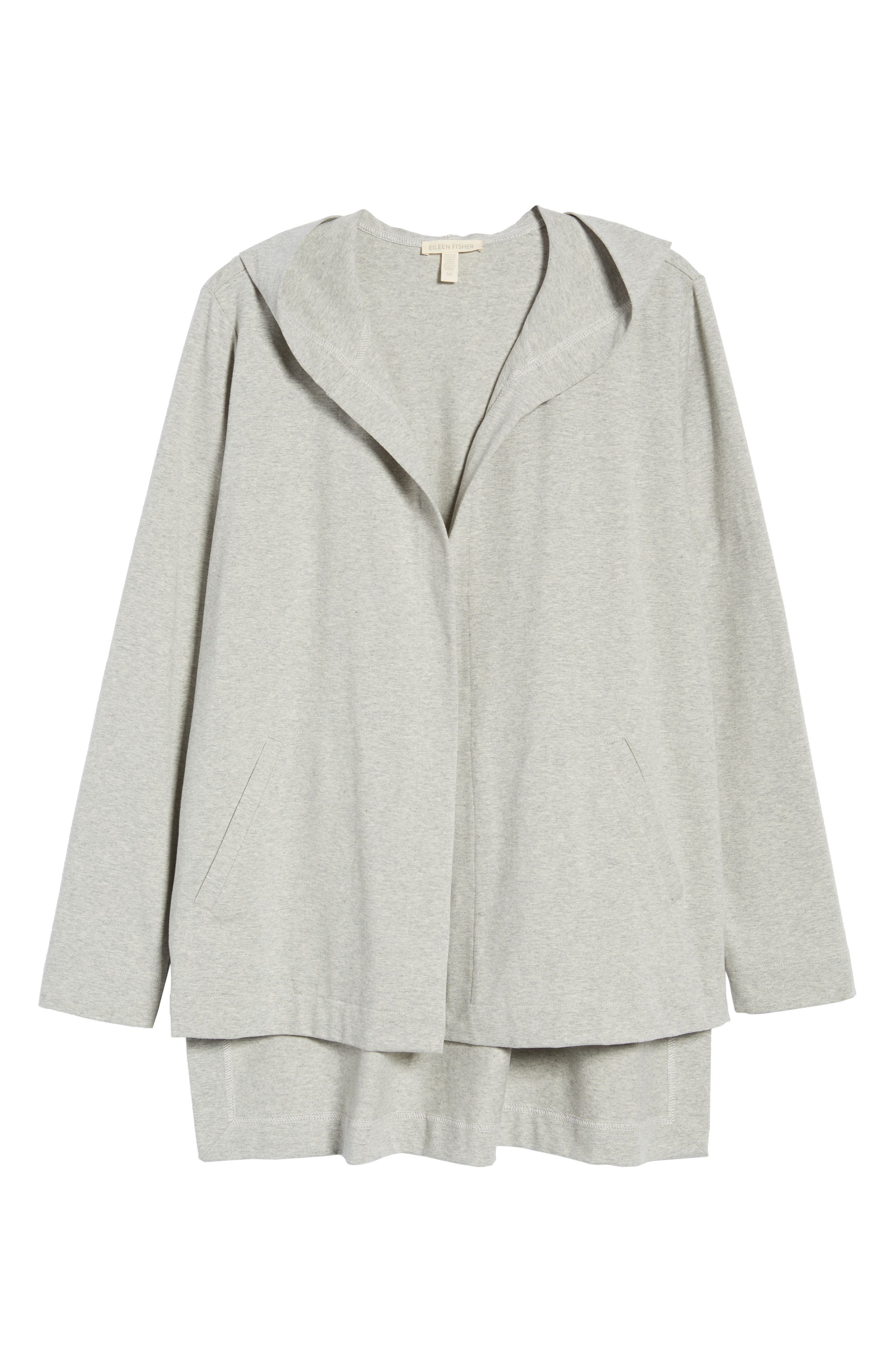 Hooded Stretch Organic Cotton Cardigan,                             Alternate thumbnail 7, color,                             022