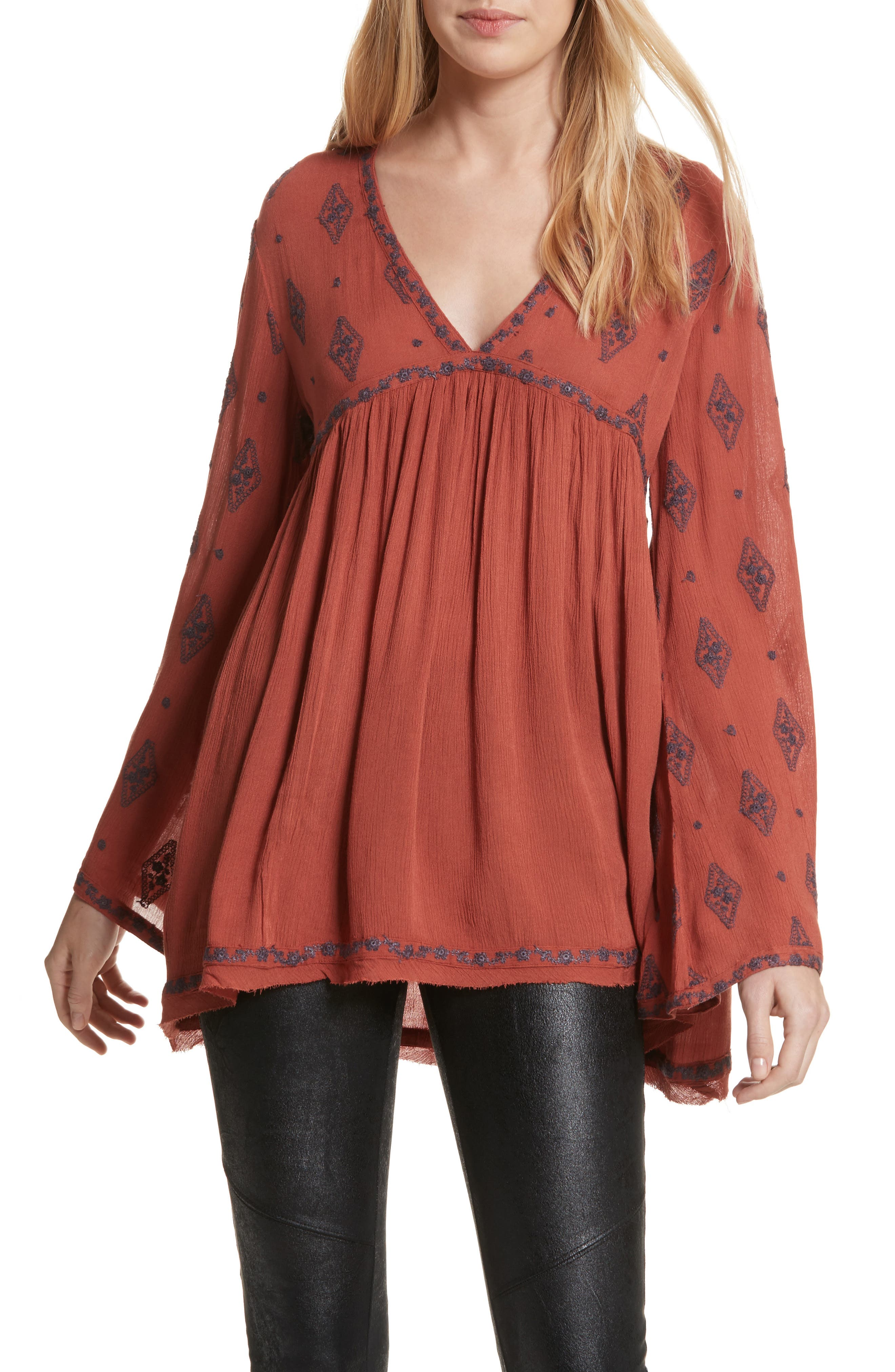 Embroidered Bell Sleeve Top,                             Main thumbnail 2, color,
