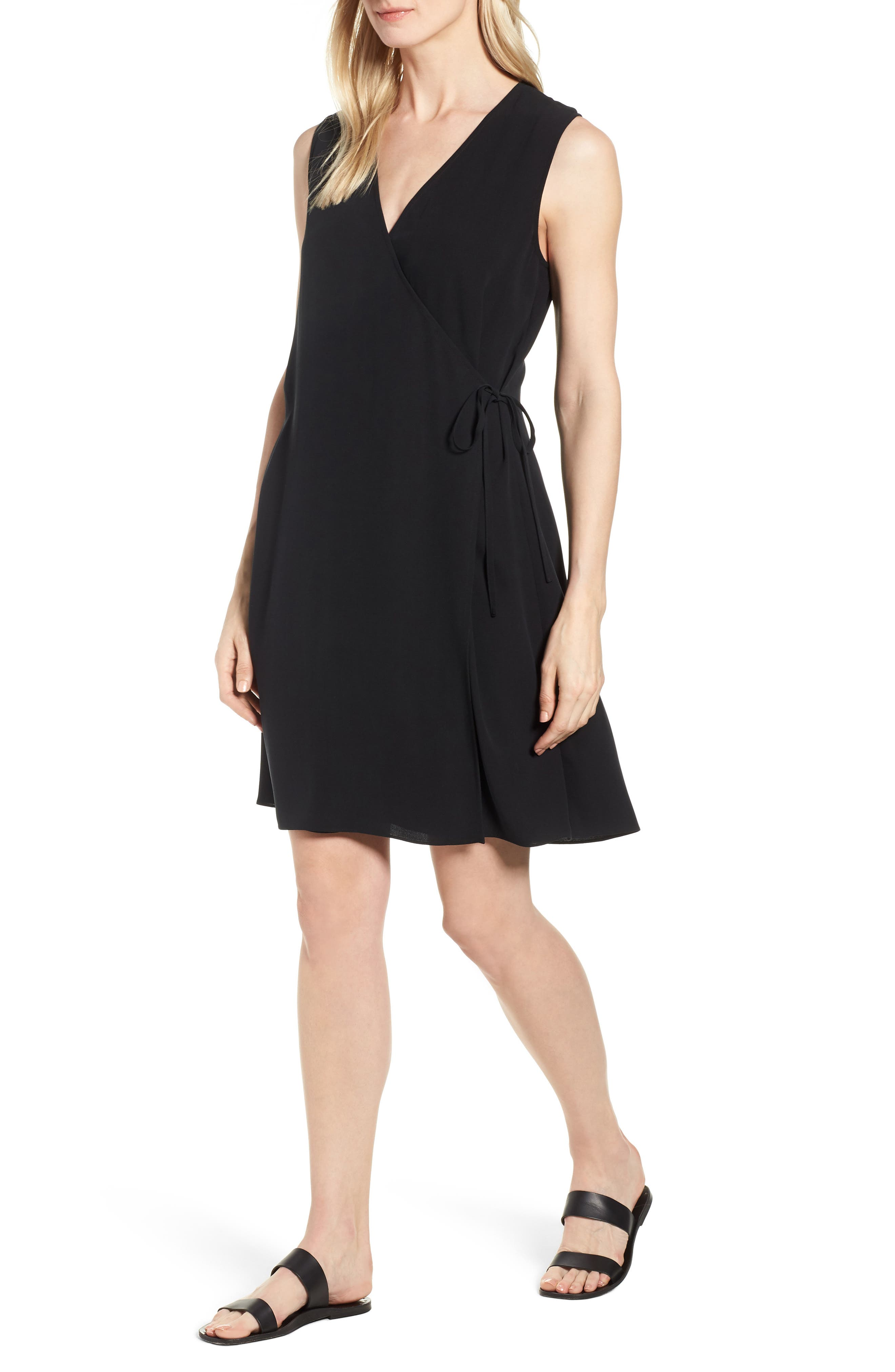 EILEEN FISHER Silk Wrap Dress, Main, color, 001