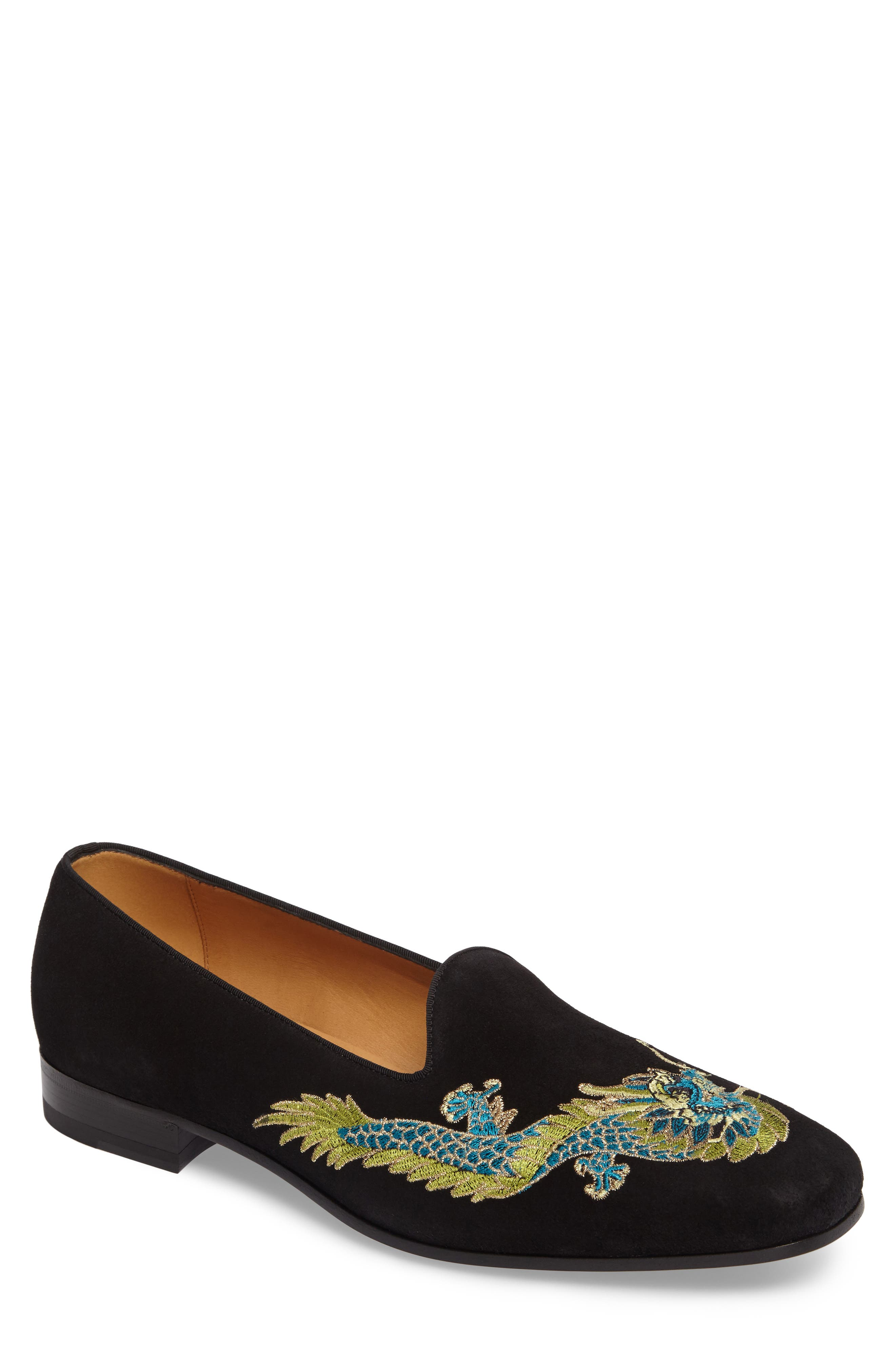 Dragon Embroidered Suede Loafer,                             Main thumbnail 1, color,                             BLACK SUEDE