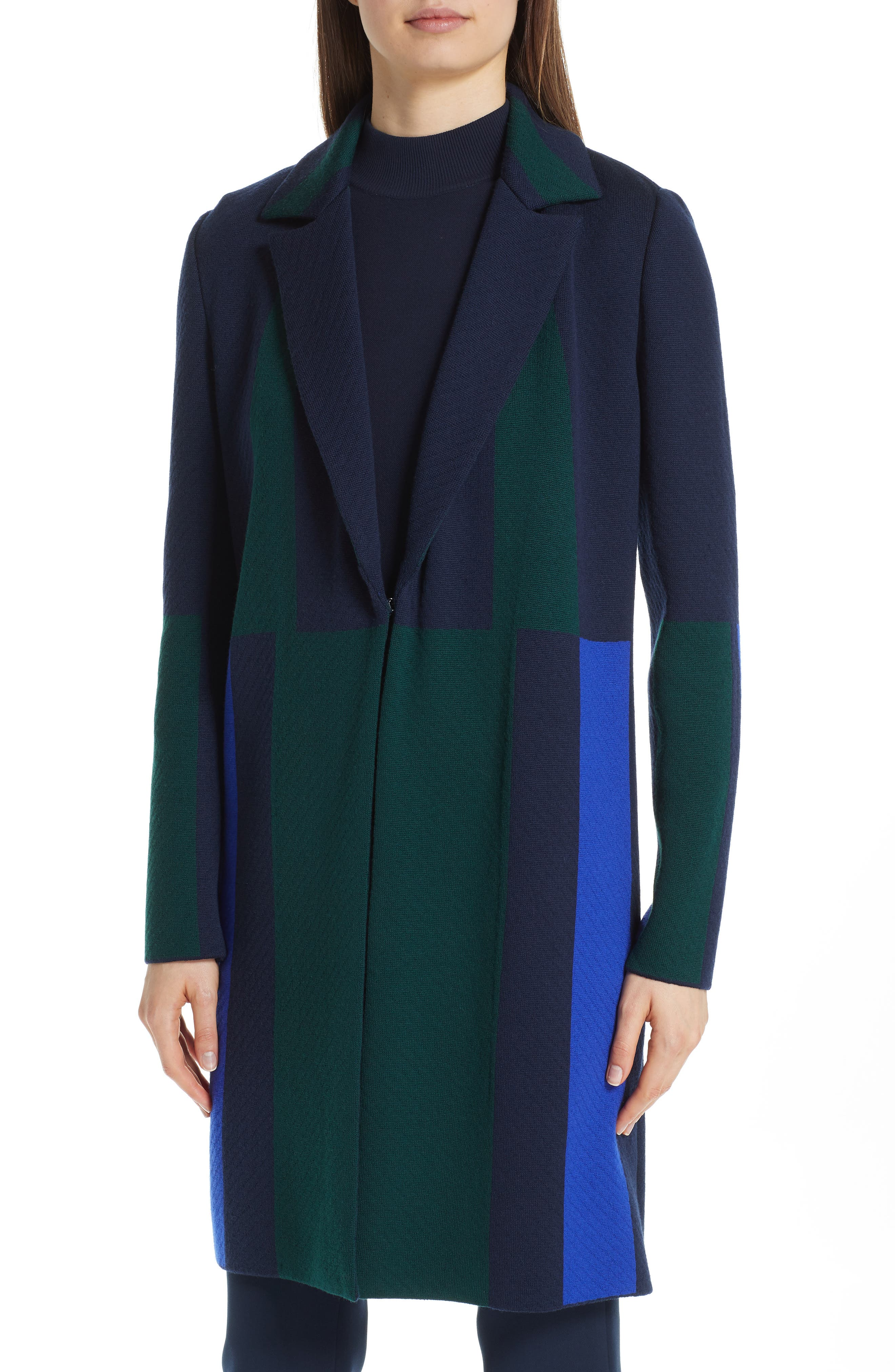Colorblock Intarsia Wool Twill Jacket,                             Alternate thumbnail 4, color,                             NAVY MULTI