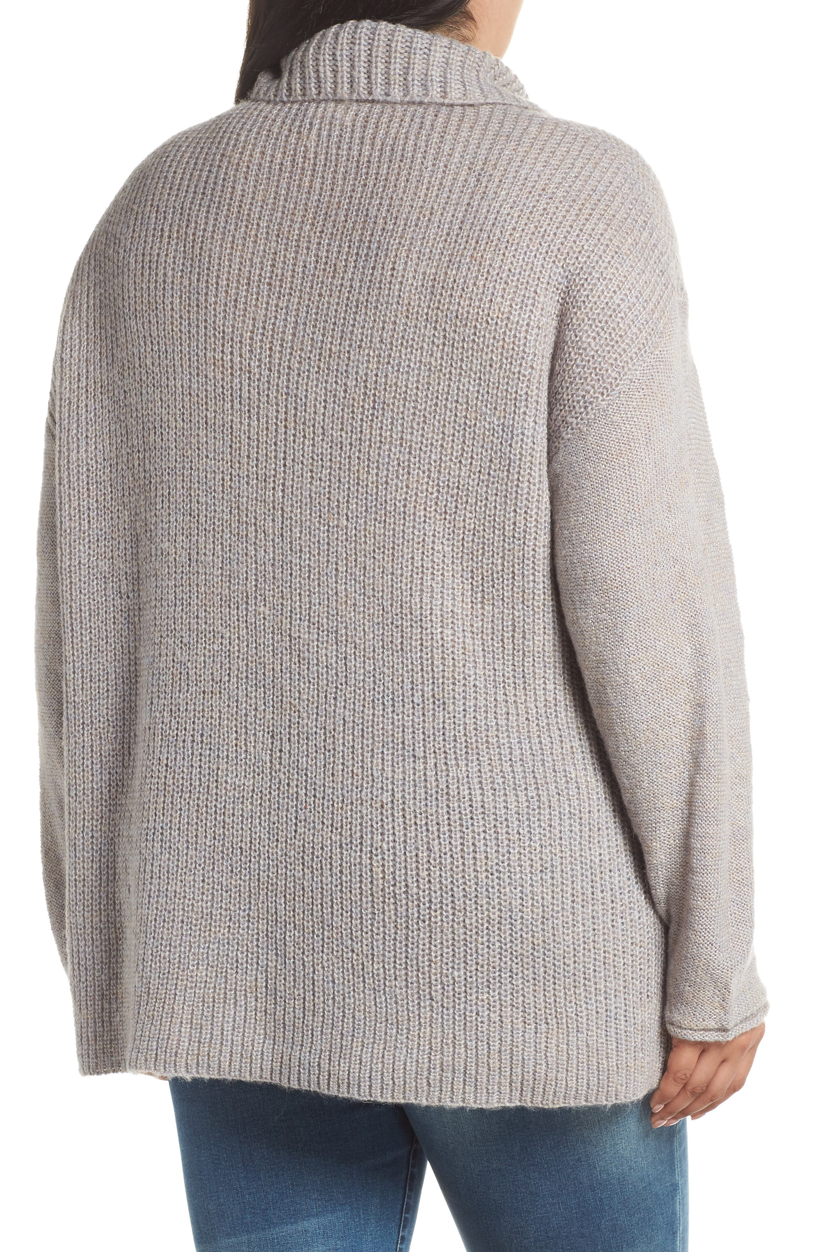 Mix Stitch Wool Blend Funnel Neck Sweater,                             Alternate thumbnail 2, color,                             GREY HEATHER