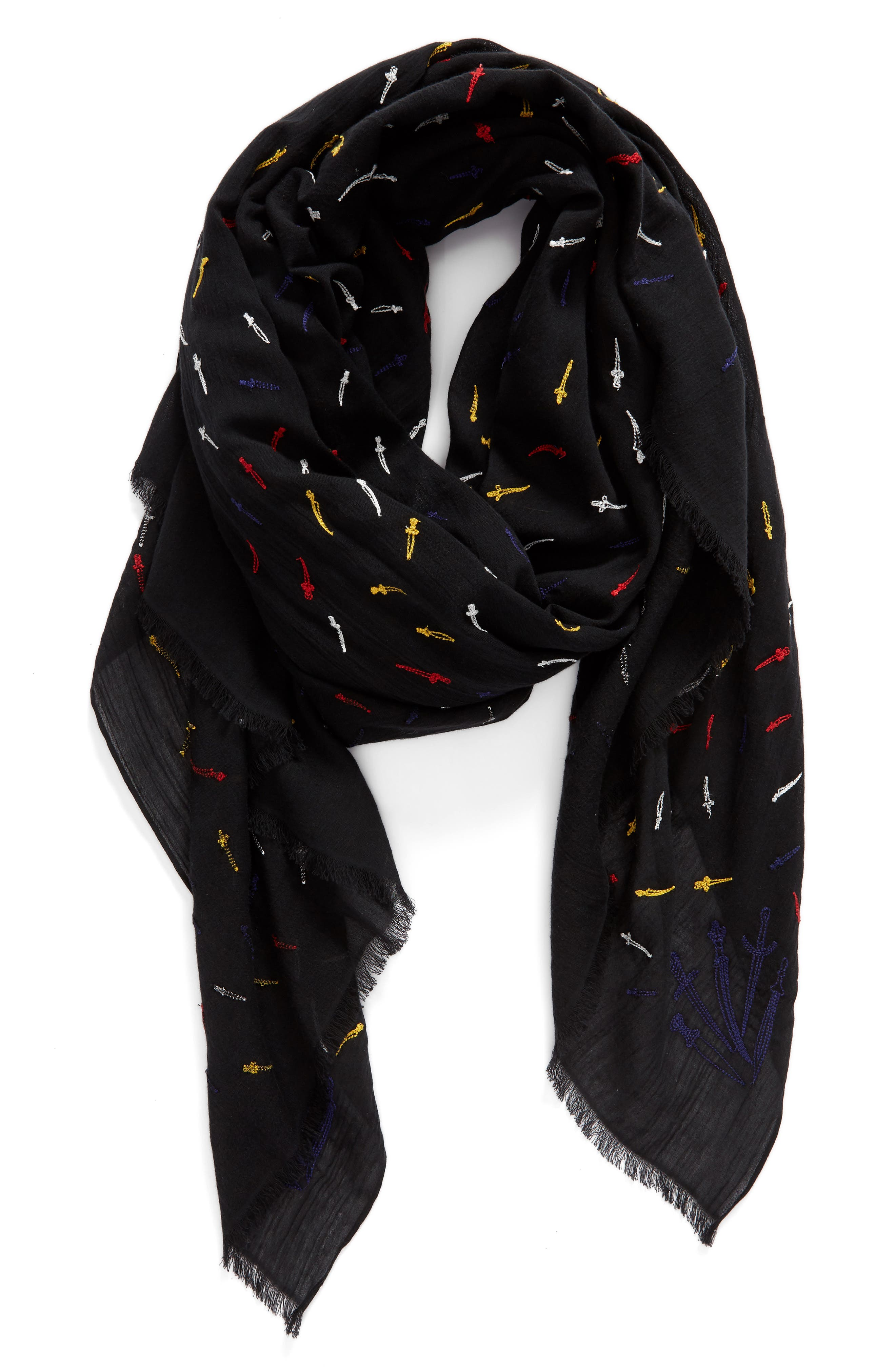 Embroidered Dagger Scarf,                             Alternate thumbnail 2, color,                             609