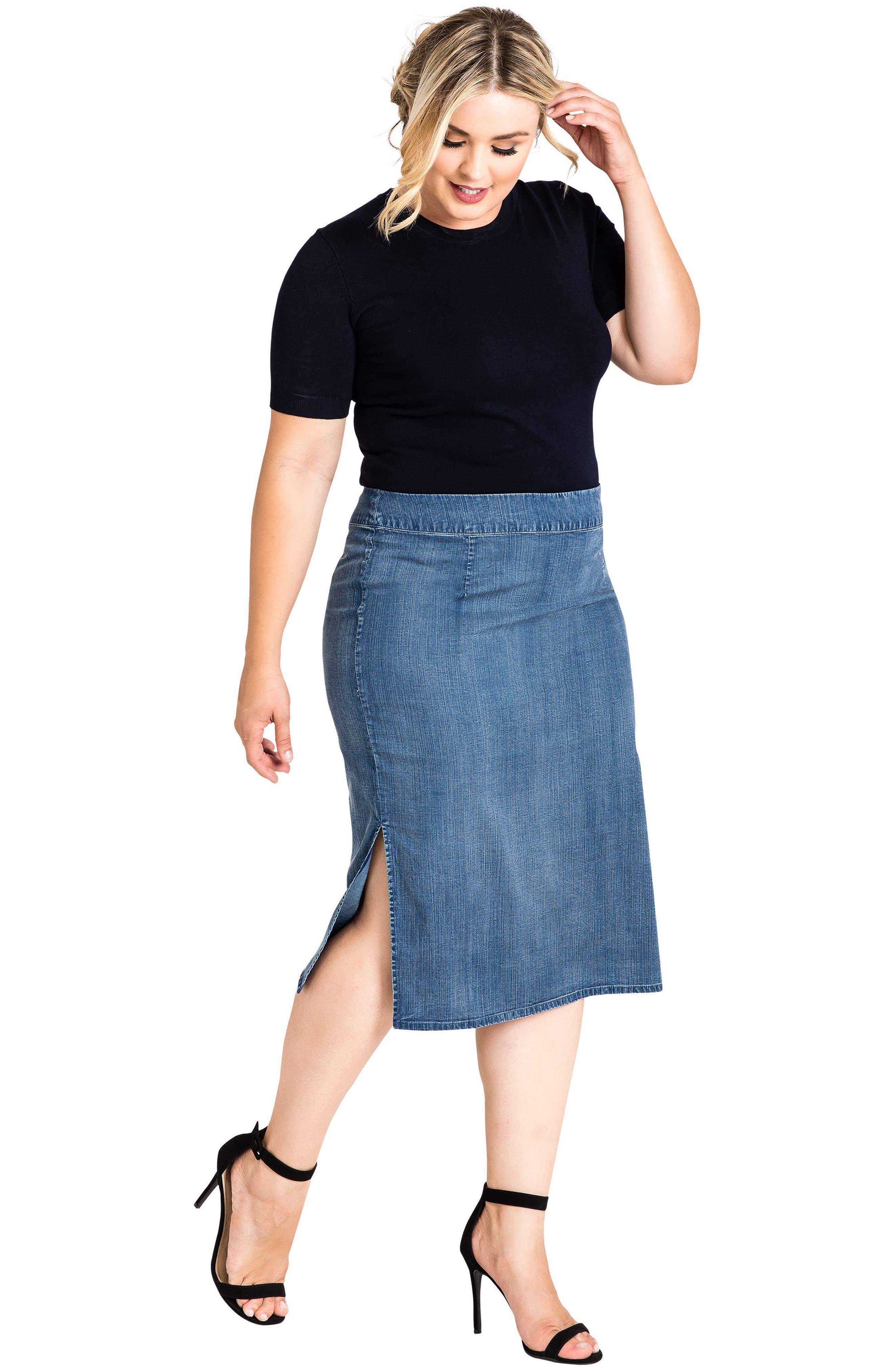 Jade Side Slit Pencil Skirt,                             Alternate thumbnail 4, color,                             DARK BLUE
