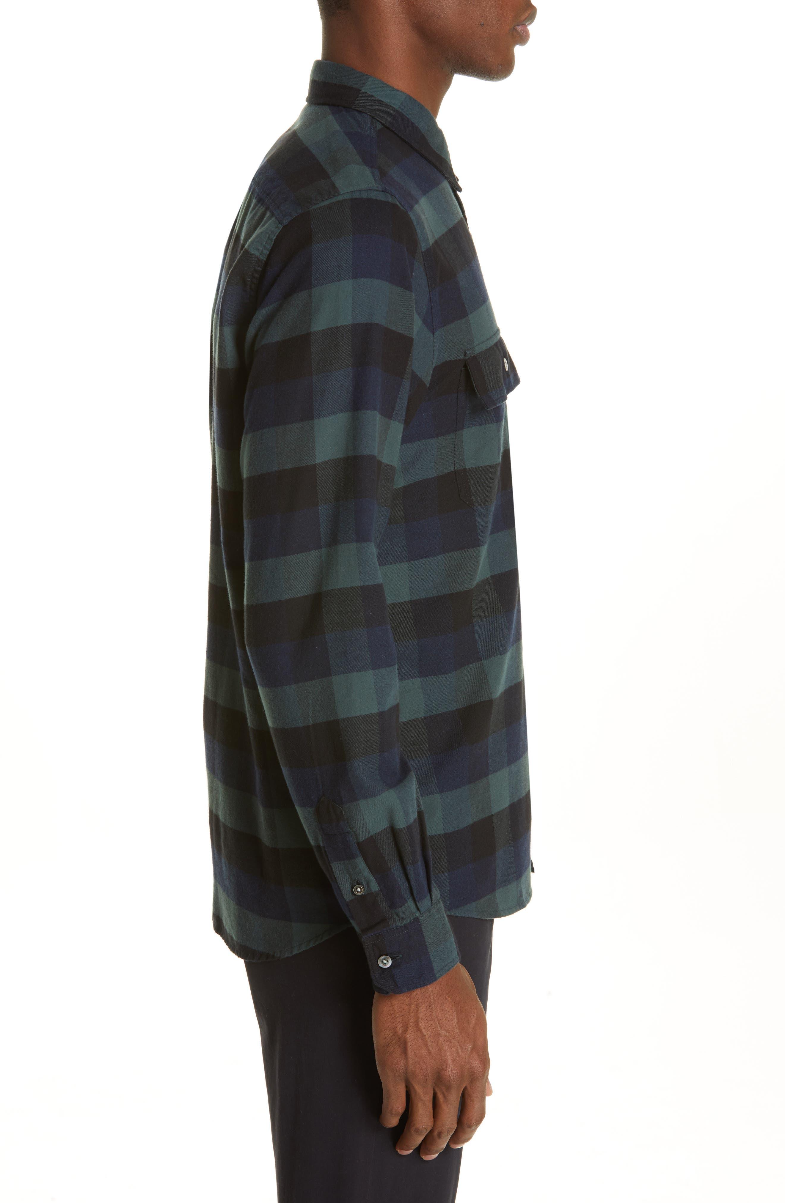 Villads Check Brushed Flannel Shirt,                             Alternate thumbnail 4, color,                             DARK NAVY