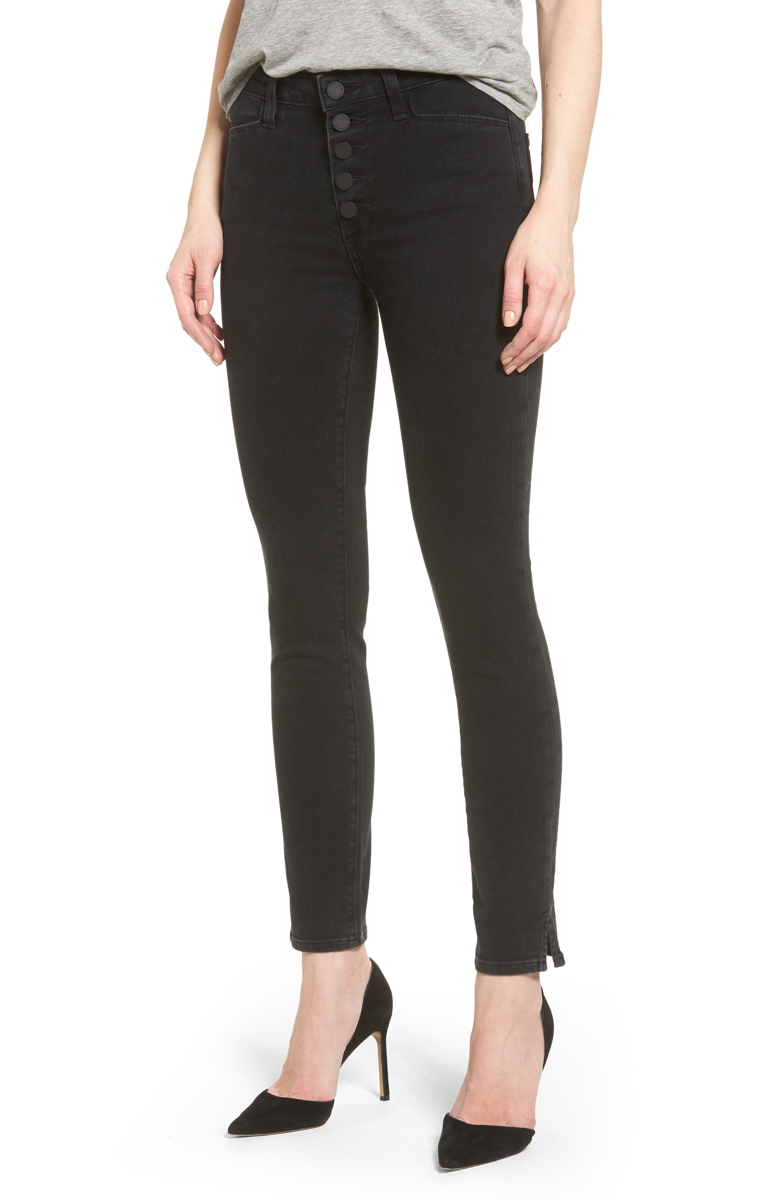 Hoxton Button High Waist Ankle Skinny Jeans,                         Main,                         color, 400