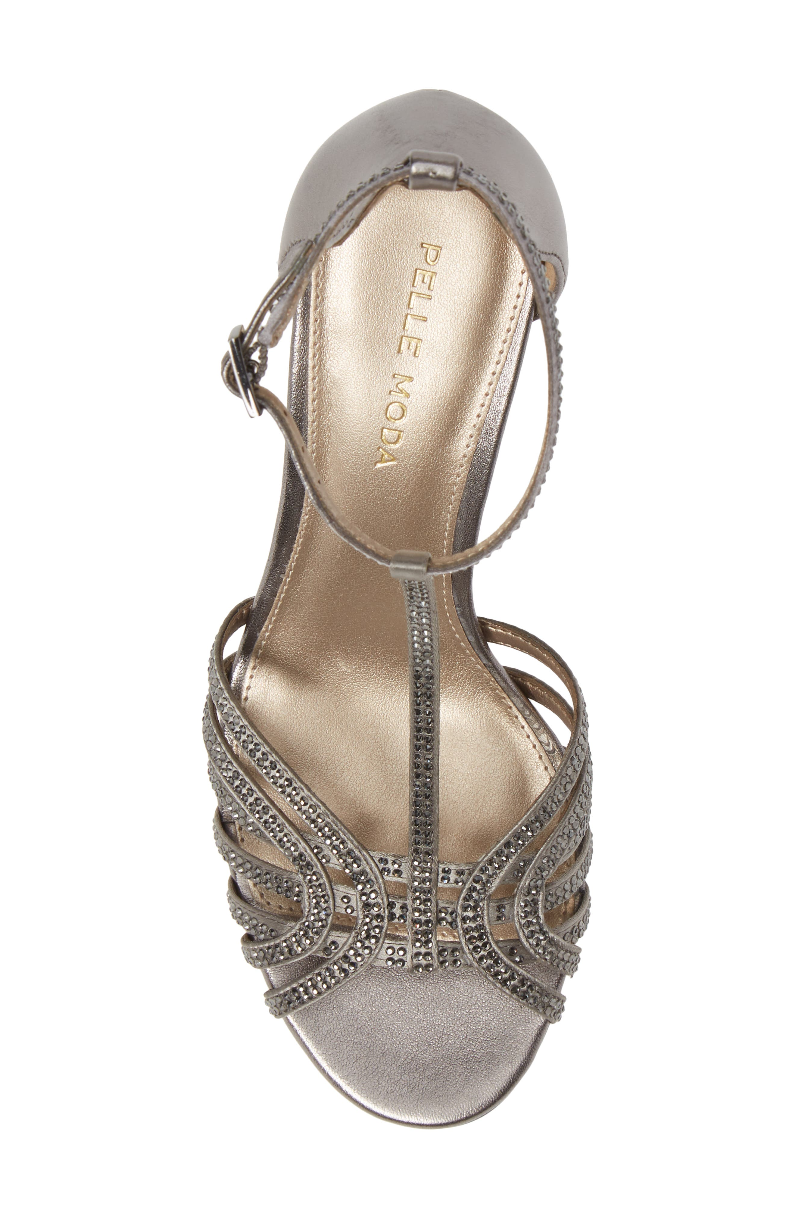 Rochell Crystal Embellished Sandal,                             Alternate thumbnail 5, color,                             PEWTER FABRIC