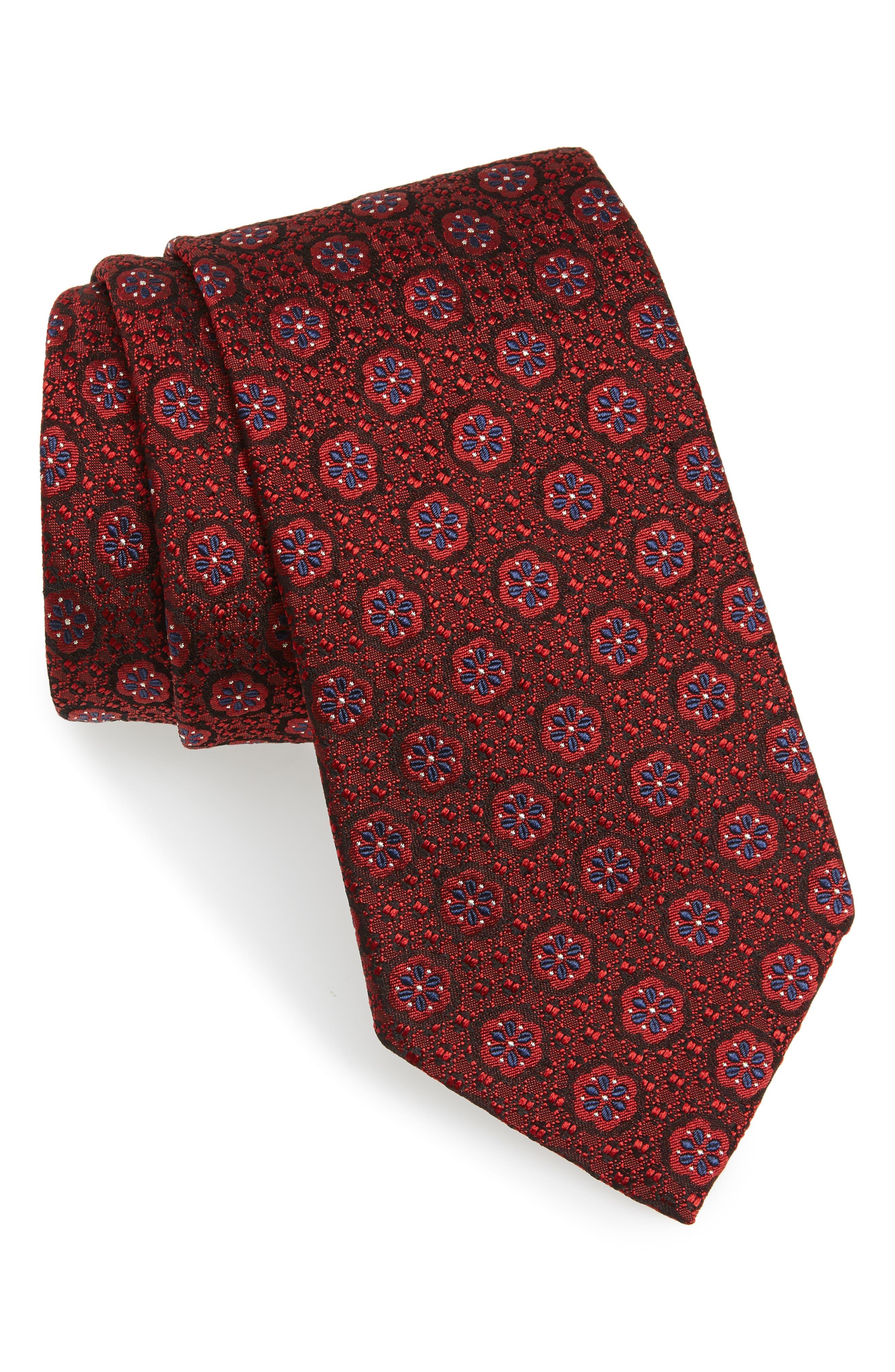 Medallion Silk Tie,                         Main,                         color, 608