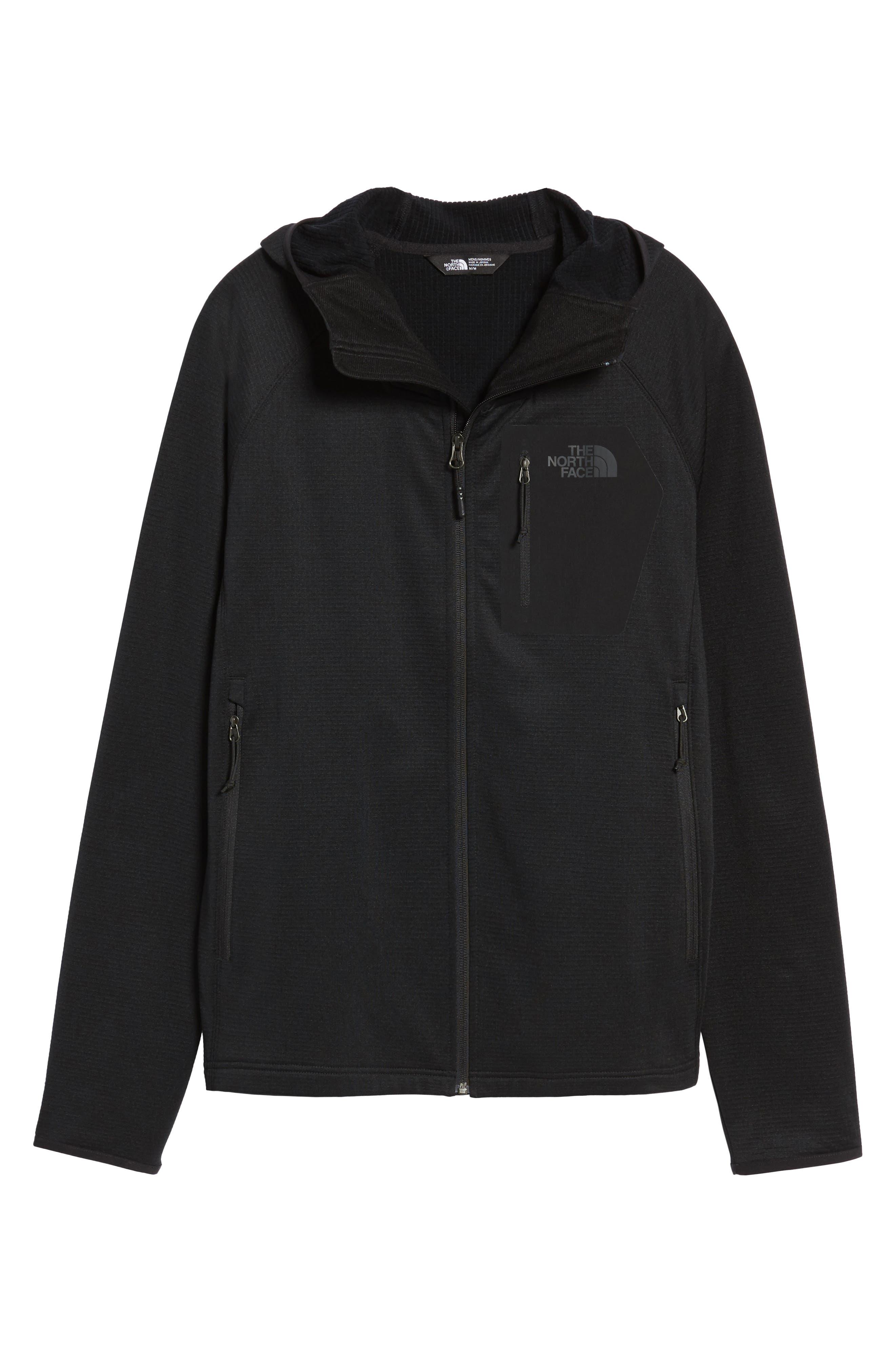 Borod Zip Fleece Jacket,                             Alternate thumbnail 7, color,                             BLACK/ BLACK