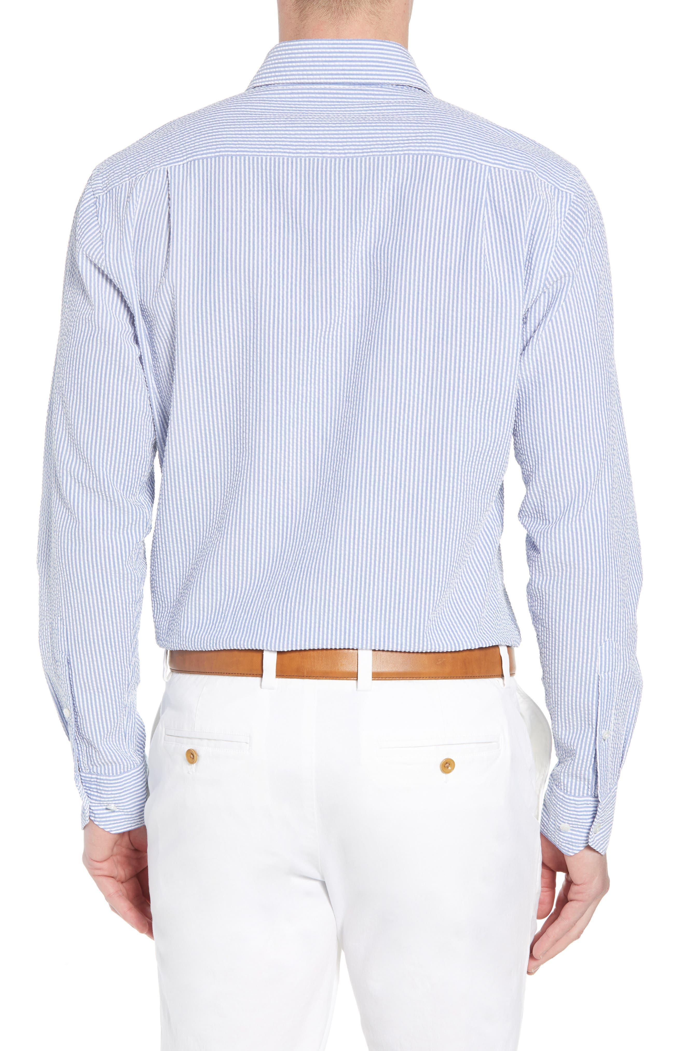 Summertime Stripe Seersucker Sport Shirt,                             Alternate thumbnail 2, color,                             BLUE CEILLO