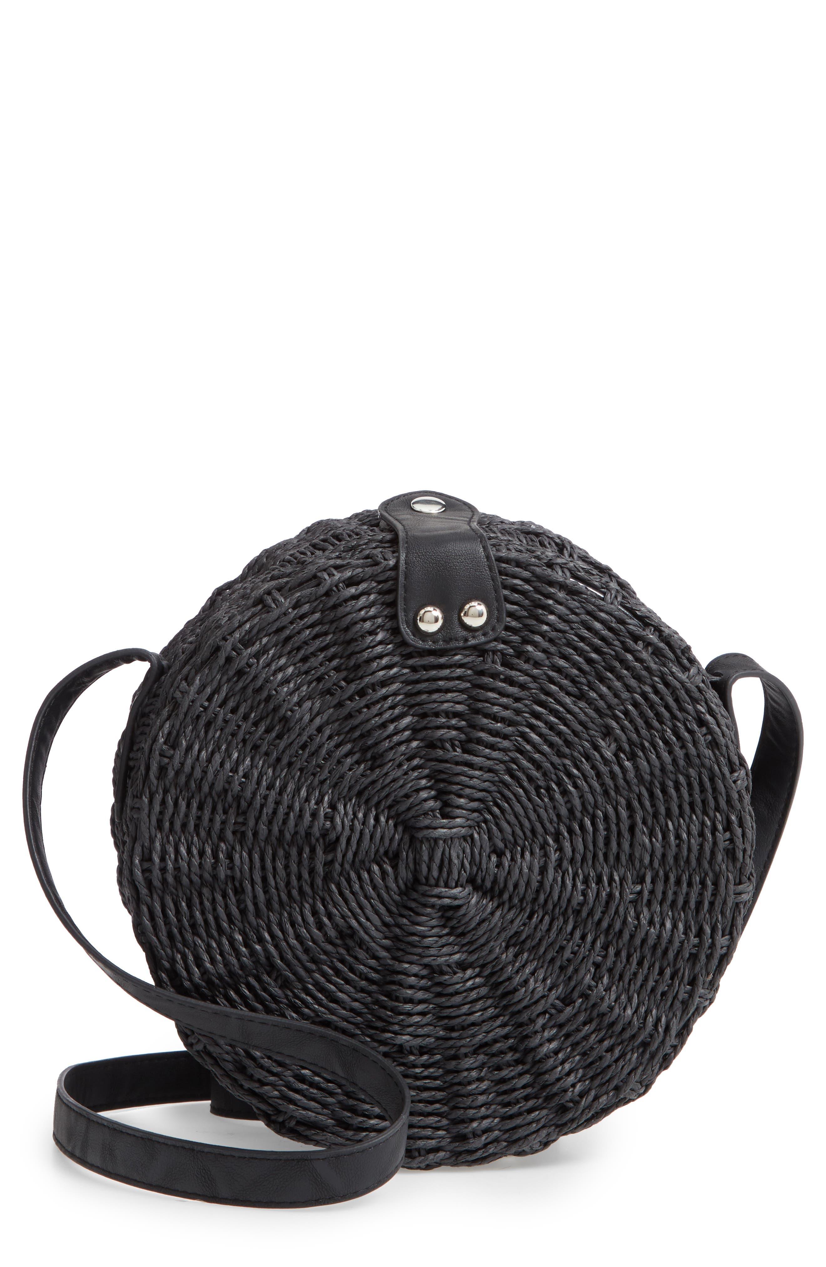 Barbar Straw Crossbody Bag,                             Main thumbnail 1, color,                             001