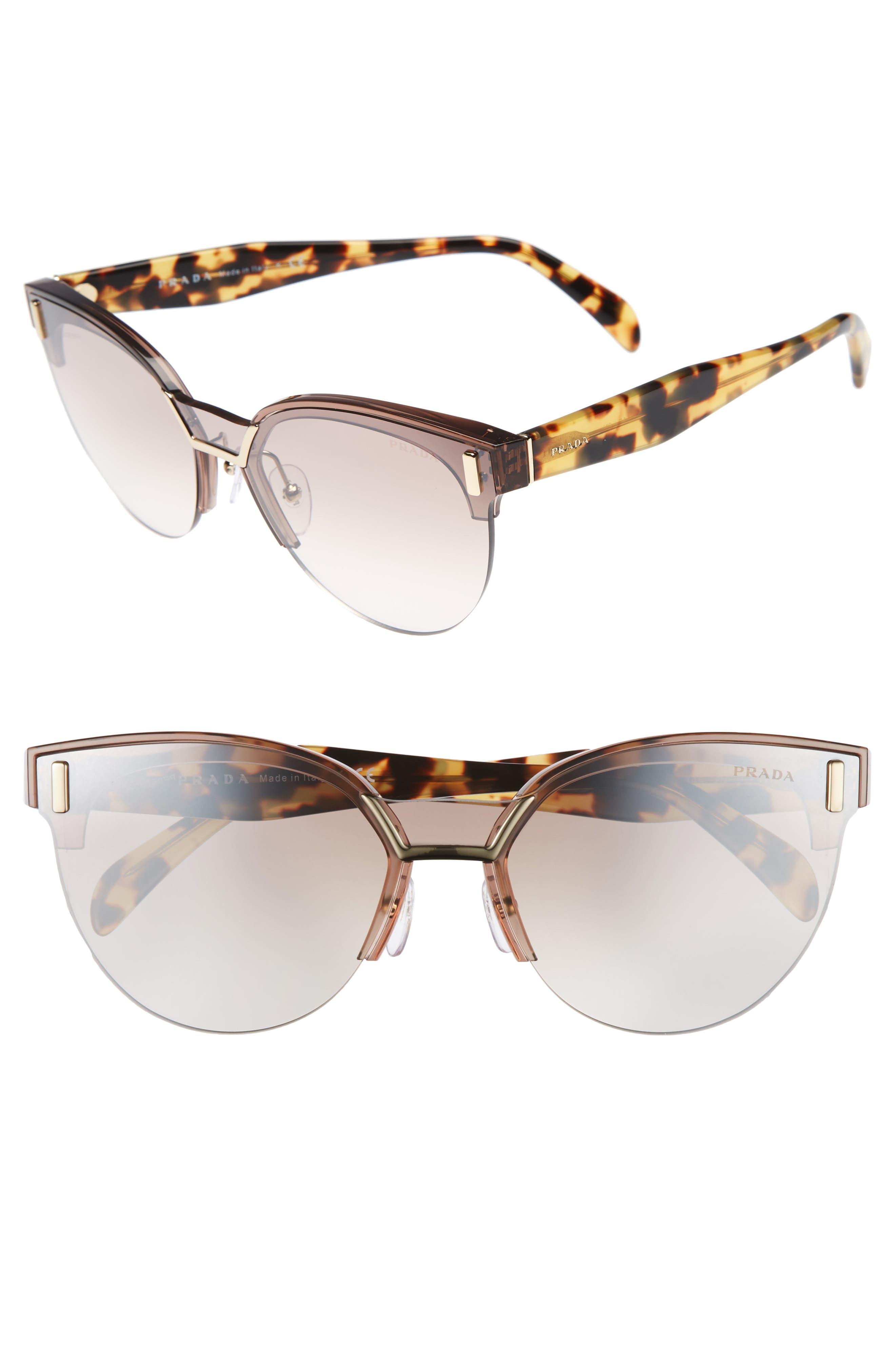 43mm Semi Rimless Sunglasses,                             Main thumbnail 1, color,                             TRANSPARENT BROWN